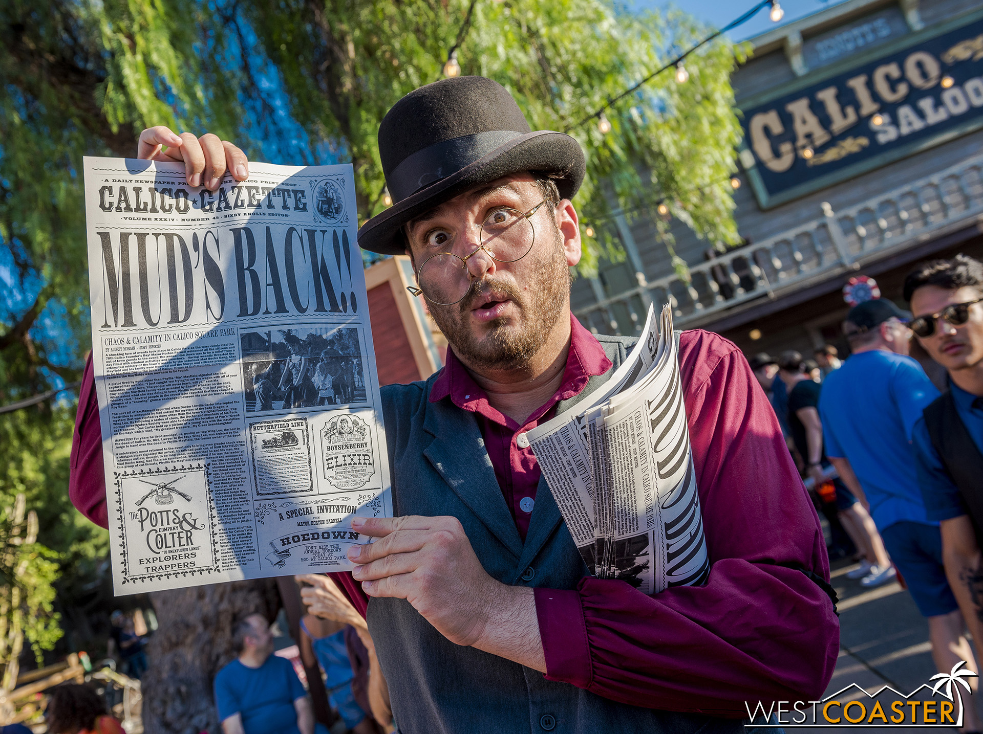 And Bixby Knolls presents the special edition  Calico Gazette  announcement.  It was so shocking that they forgot Mudd's other D!