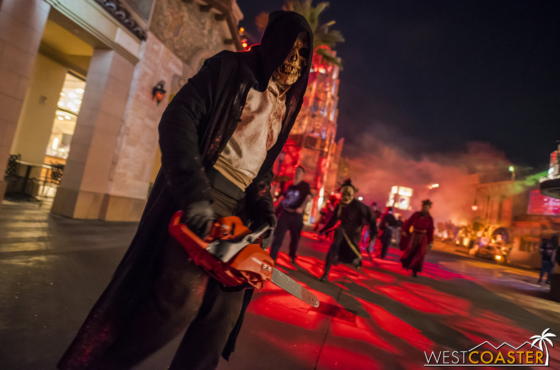 The chainsaw guys are some of the first greeters at Halloween Horror Nights!