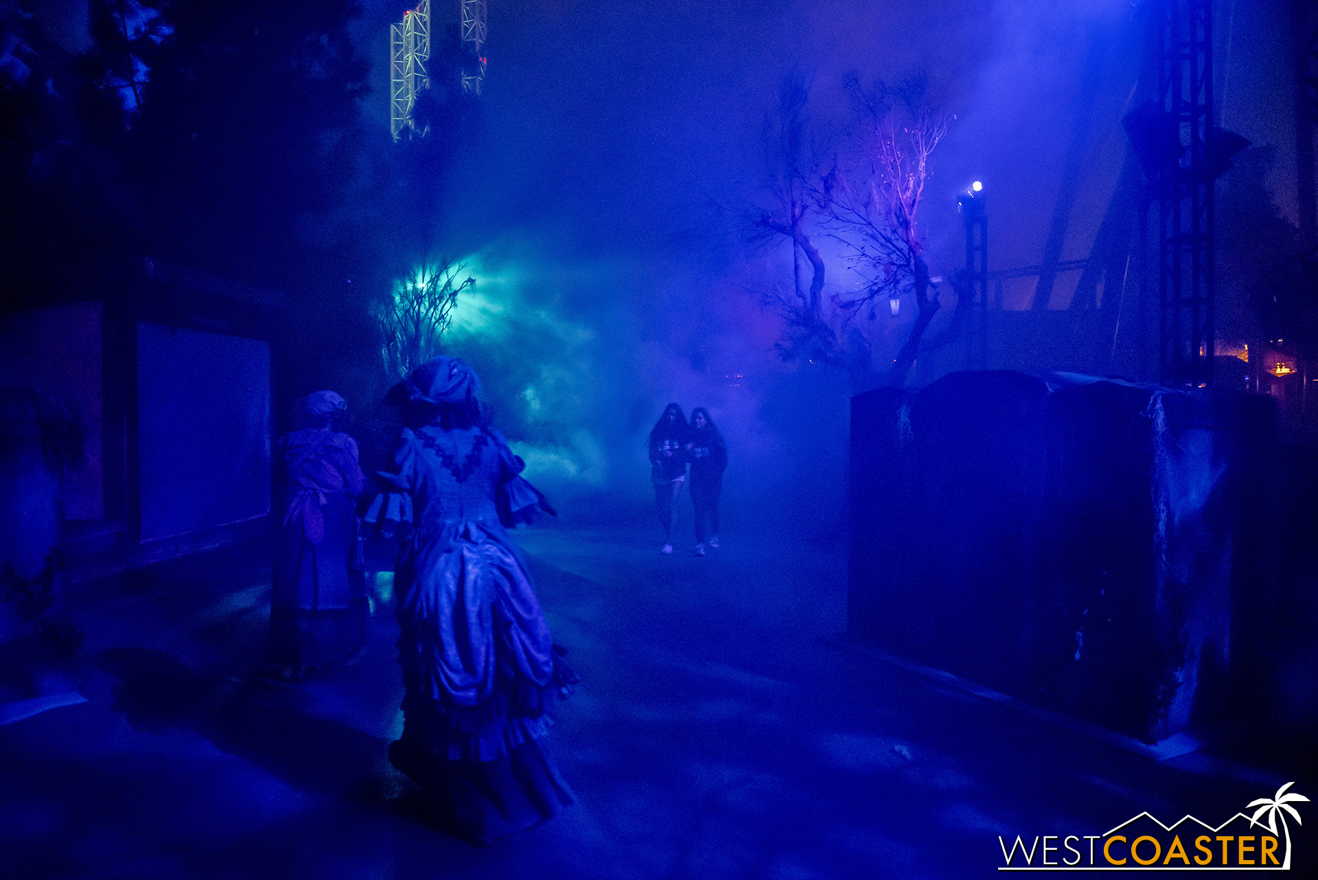 Most of the sets are movable, but in the blue fog, they look great!