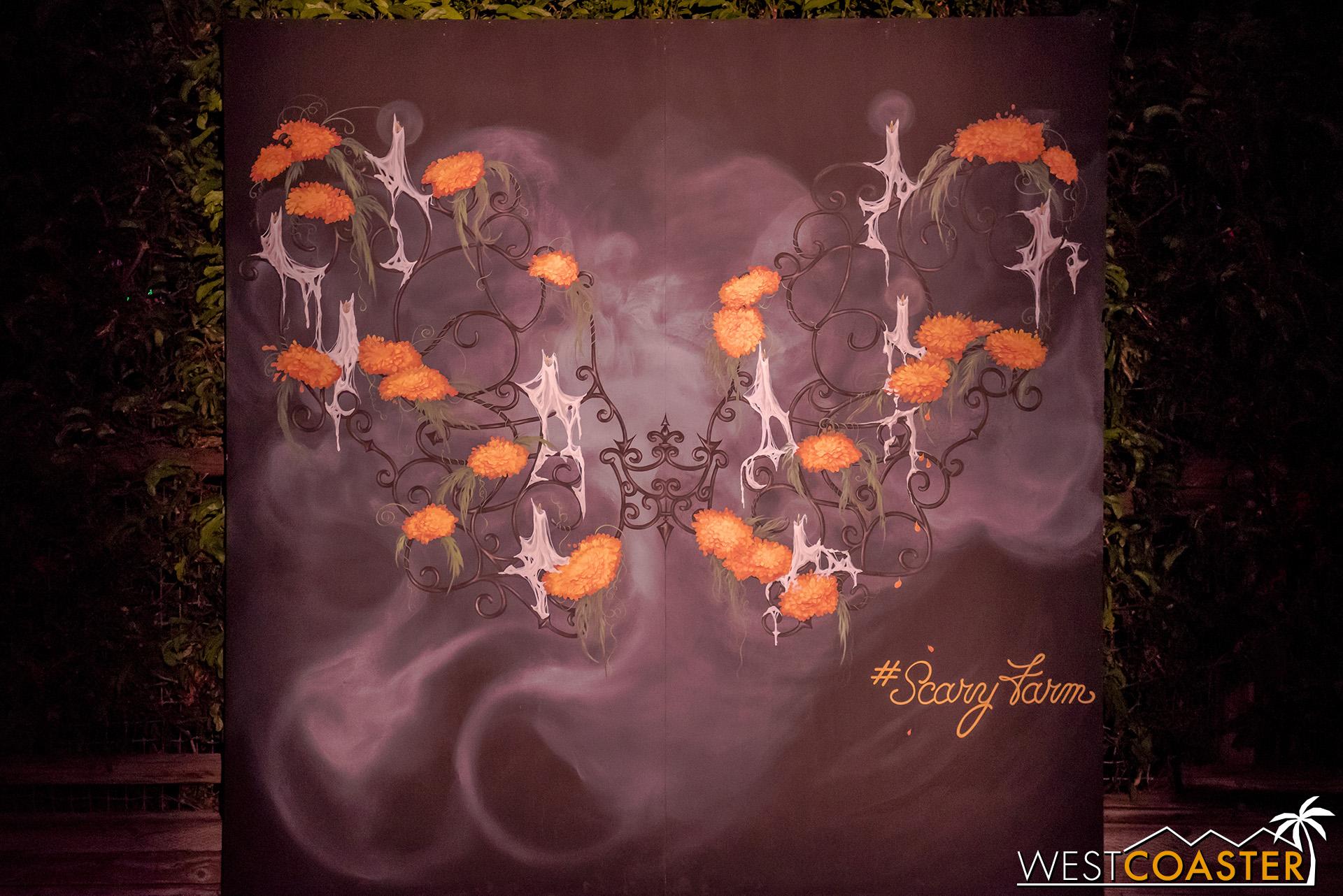 "This creative ""angel wings"" mural brings a great Halloween flair to things."