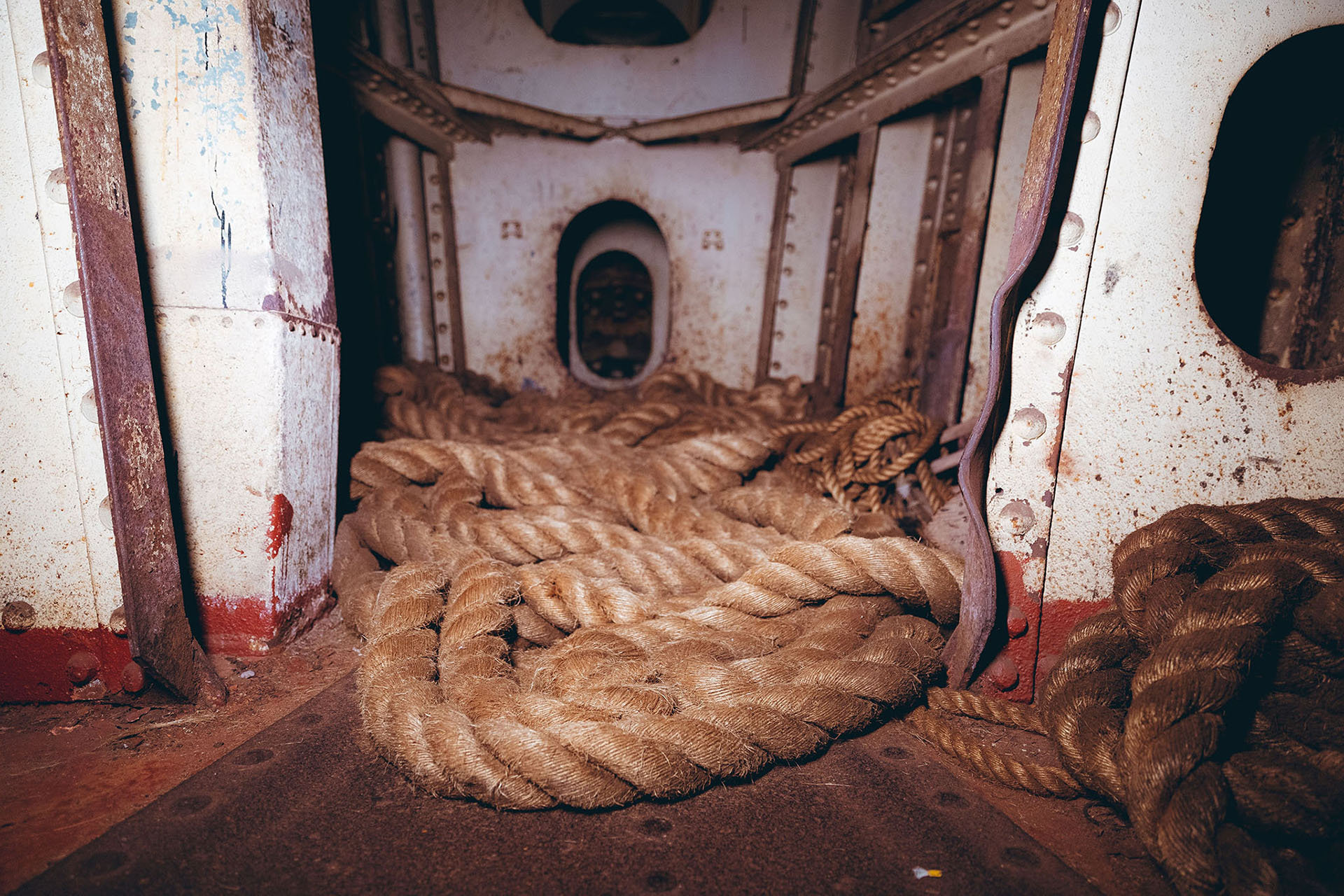 The rope room on the Queen Mary. Photo credit Matthew Martinez