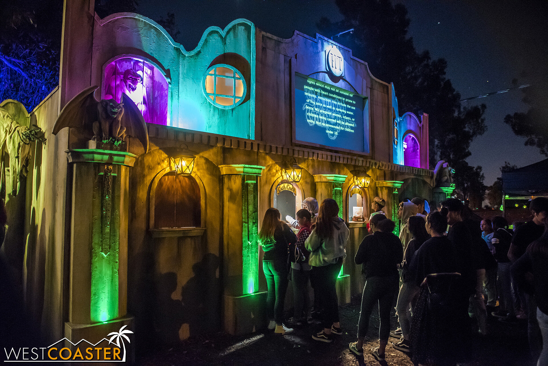 The front of the ticket line at the Haunted Trail Balboa Park.