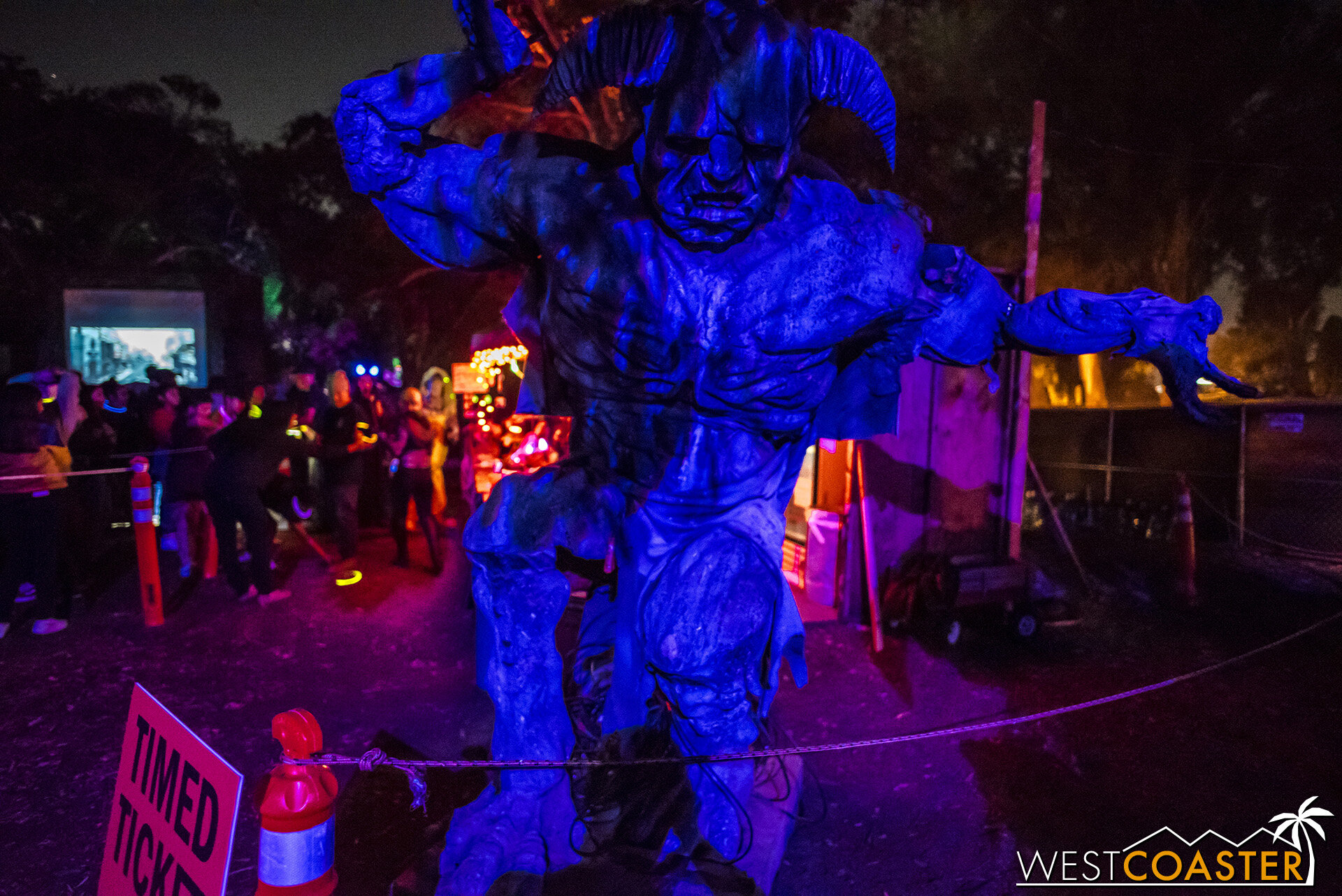 A demon to pose with in the extended queue area inside.