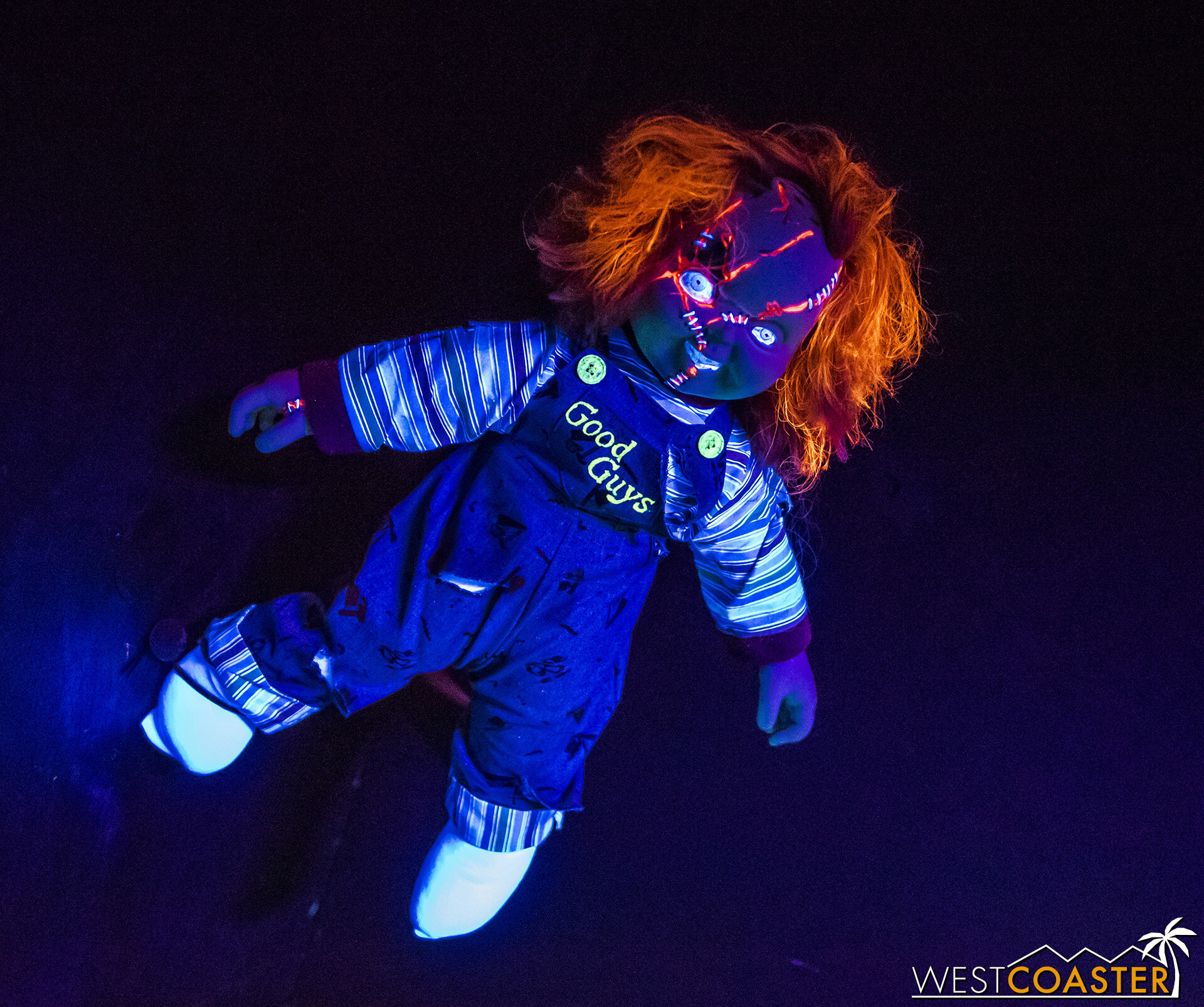 Chucky is one of several famous horror franchise icons to greet guests.