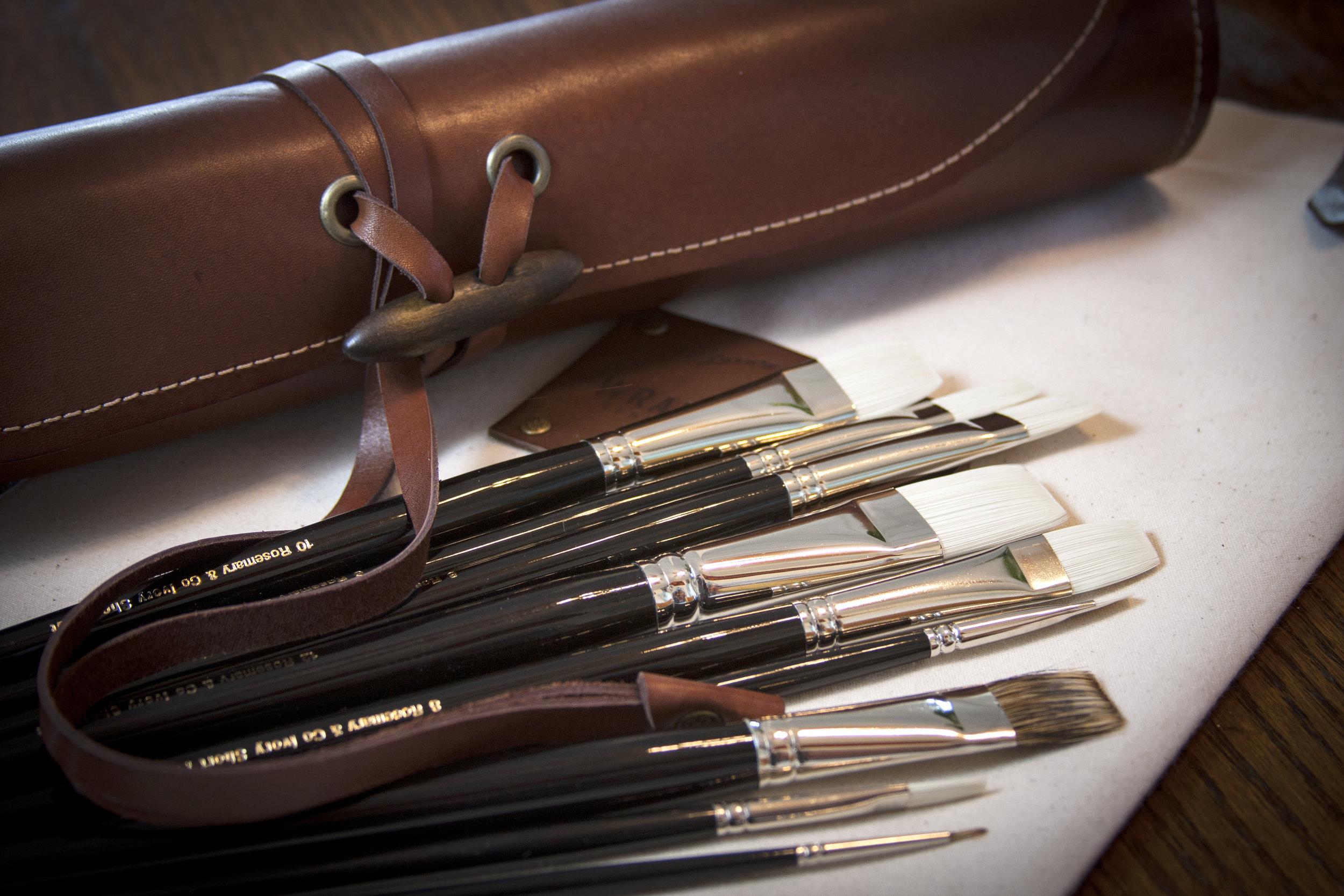 Rosemary & Co brushes and Leather Brush Wrap