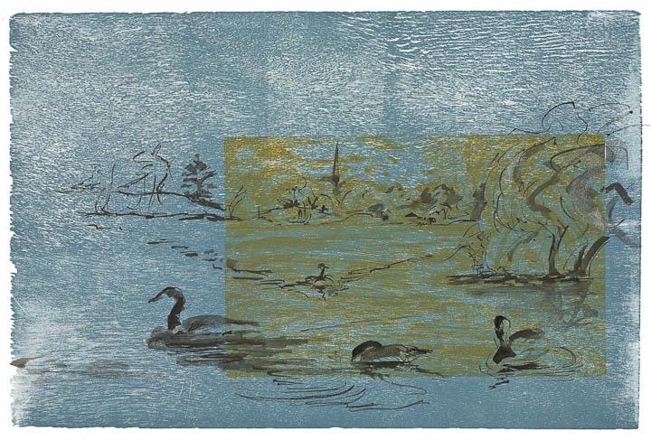 Woodcut & Sumi Ink. Geese on Jamaica Pond .jpg
