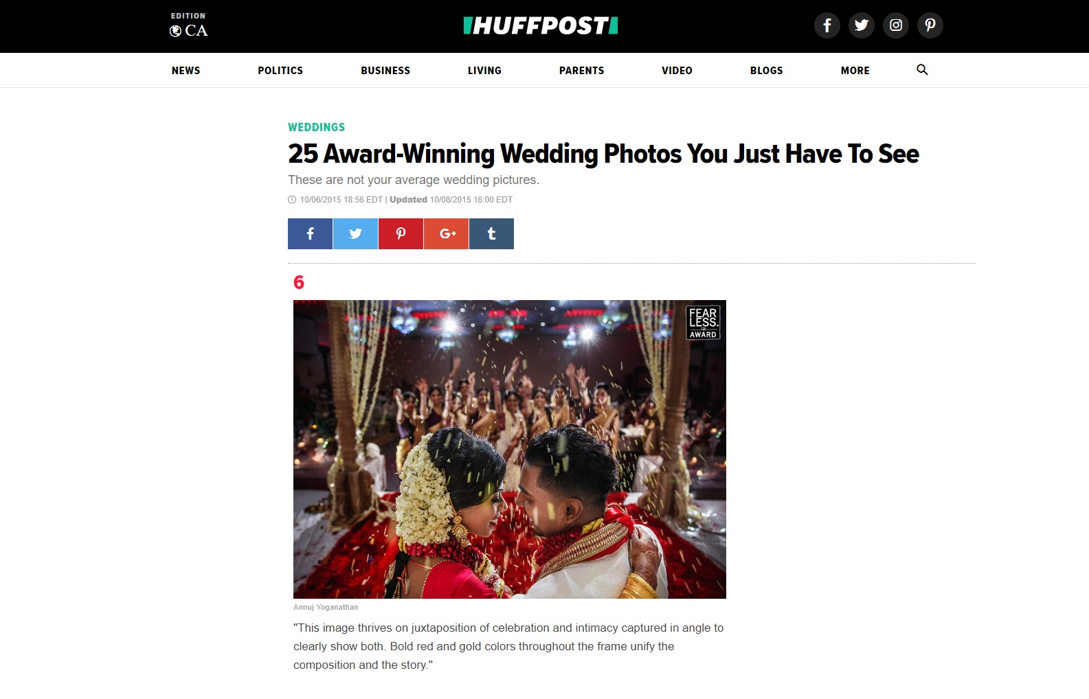 Huffington Post Feature - 25 Award-Winning Wedding Photos You Just Have To See