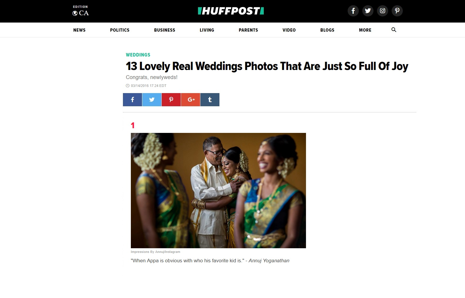 Huffington Post Feature - 13 Lovely Real Weddings Photos That Are Just So Full Of Joy