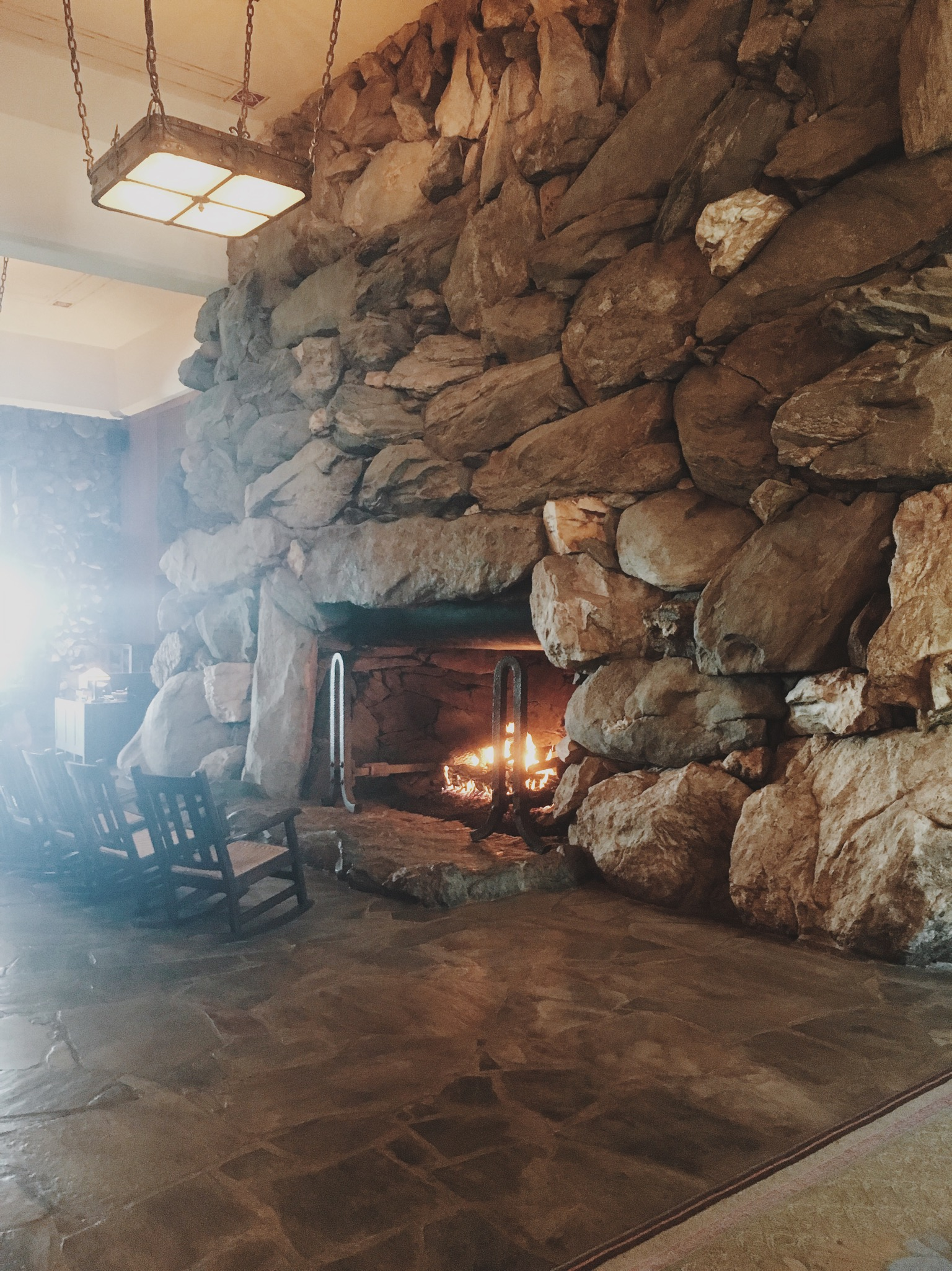 I can't believe I didn't take more pictures at the Grove Park Inn!  It was almost just soooo big and grand that I just couldn't even grasp trying to get it all in a photo!  But this is a little shot of the huge fire place in the lobby!  The entire Inn was stone!