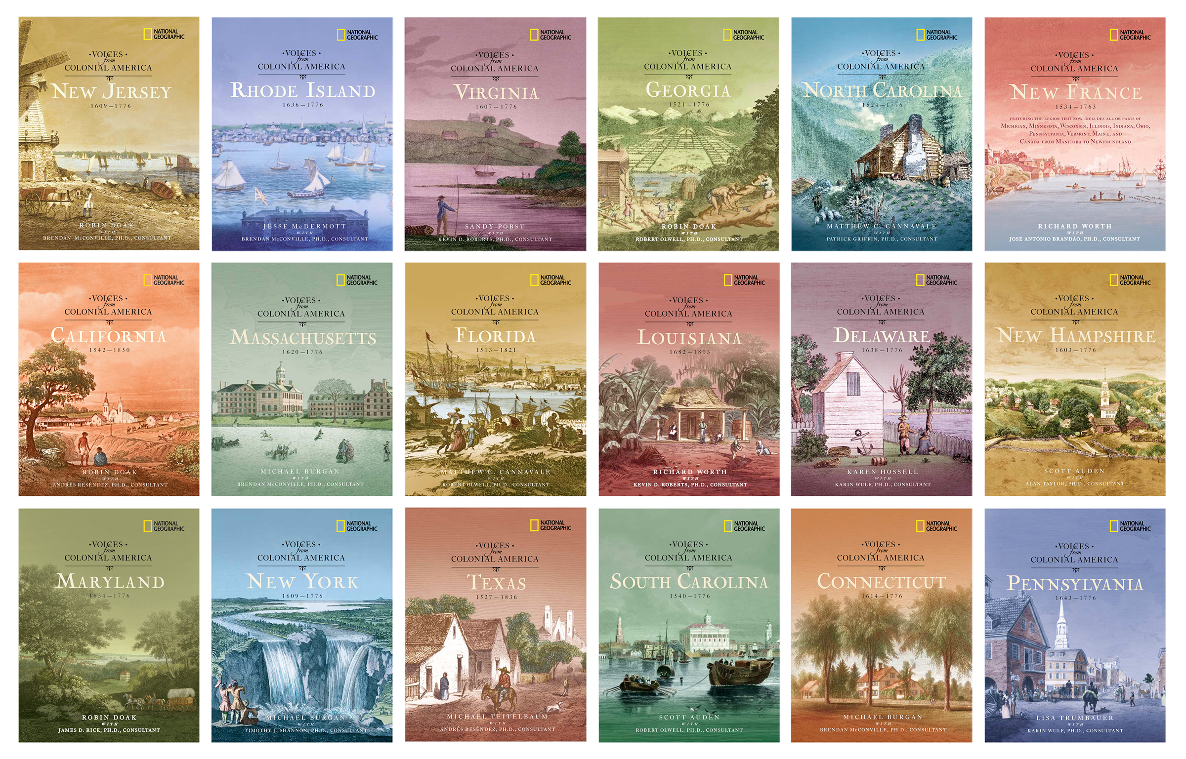 Covers feature hand-colored engravings from the 1700s and 1800s.