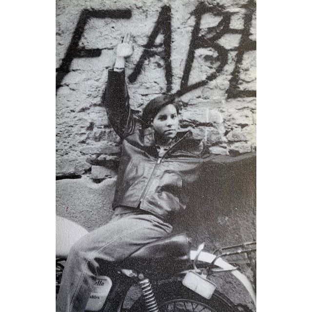 Fabia in Florence, 1982. A vacation away from her then job at Overnight Type & Graphics in Manhattan, seven years before starting FWD. . . . #florenceitaly #florence #italy #type #graphics #graphicdesign #nyc #manhattan #newyork #vacation #fabia #fabe #motorcycle #grafitti #streetart #designer #leatherjacket #theeighties #adventure #travel #history #design #life #europe