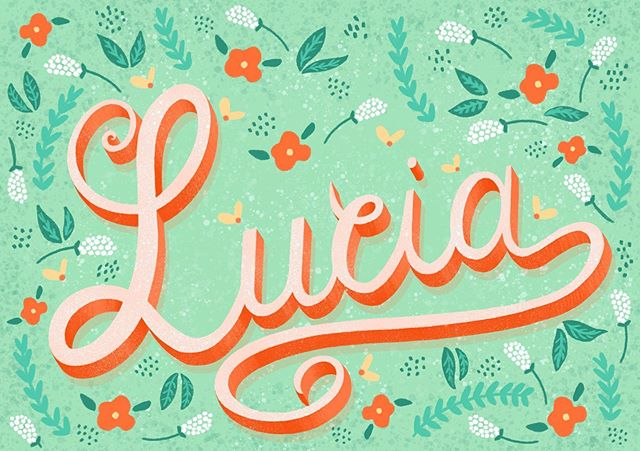 #Lucia - this is something I have done for a friend who gave #birth to a beautiful baby girl 3 weeks ago. 🥰 We live far away and it's not always easy to keep up with our friends but there is always something we can do to feel closer. . . . #handlettering #homwork #handletteringdesign #handletteringdaily #handletteringposter #poster #printing #pattern #flowers #patterndesign #flora #creative #graphicdesign  #graphicdesigner #type #design #green #nature #birthgift #baby #babyshower #babyshowerideas #babyshowerdecor #babyshowergift #procreate #procreatedesign #procreatehandlettering #procreateart