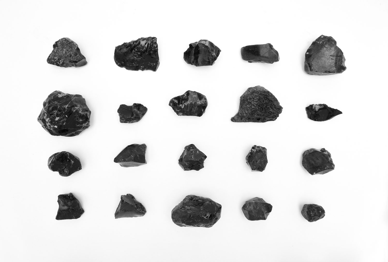 Obsidian specimens from the day