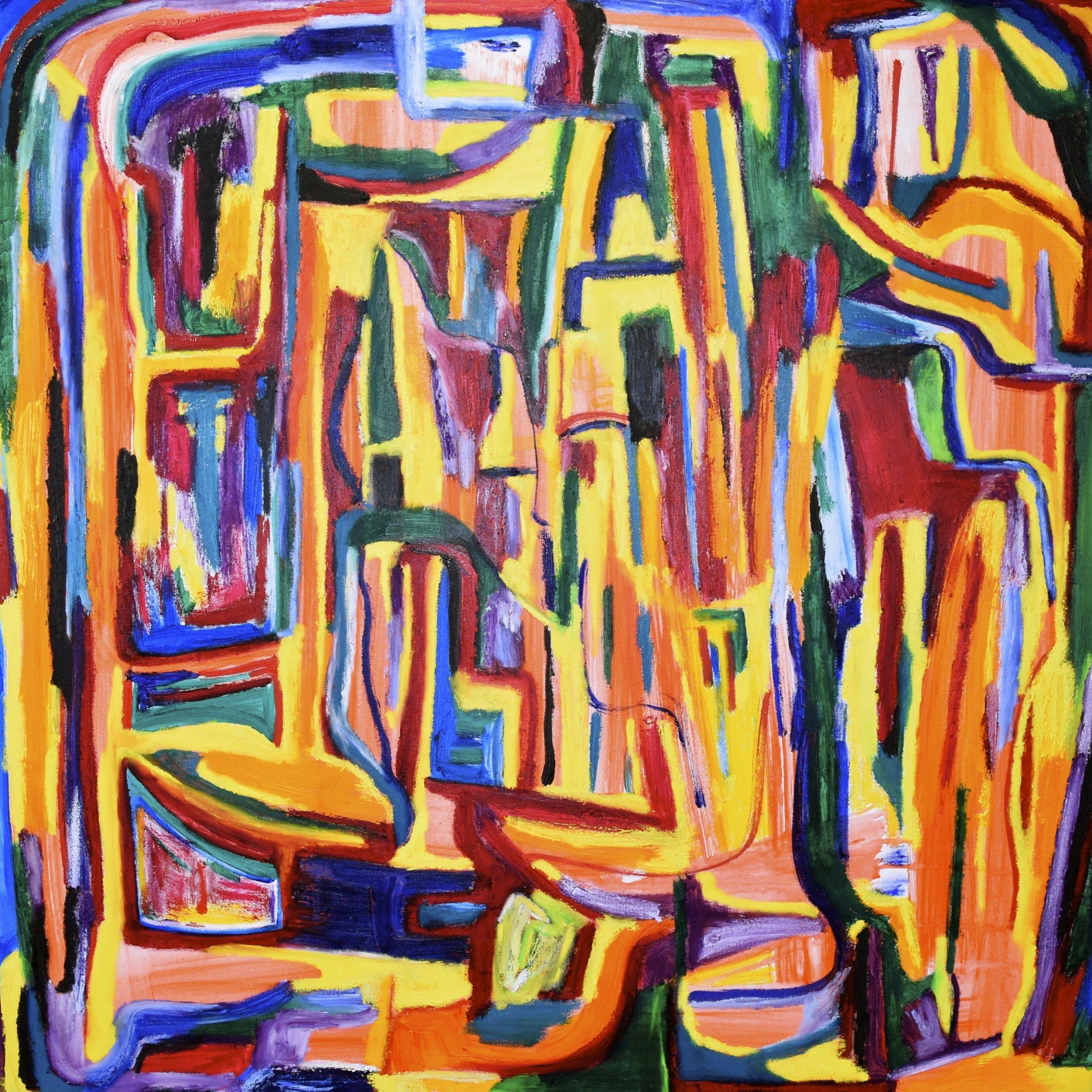 Hidden, 2017.  Oil and acrylic on canvas, 90 x 90 cm