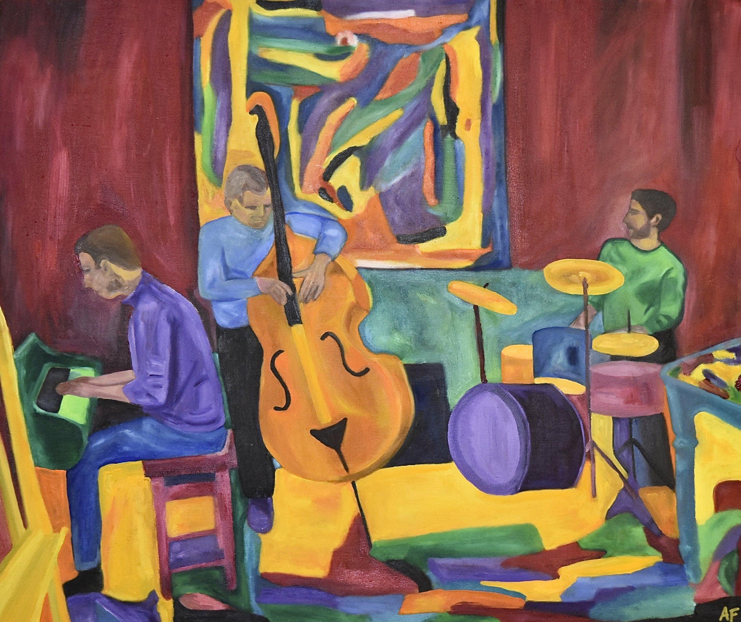 Résonances, Vortex Jazz Club, 14th November 2017. Oil on wood, 2018. 21 x 25 in