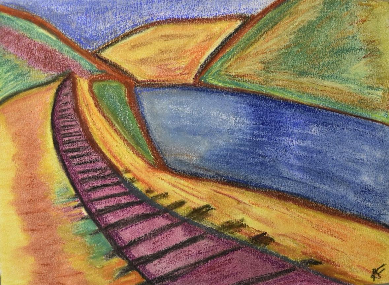 Train track, 2016. Pastel on paper