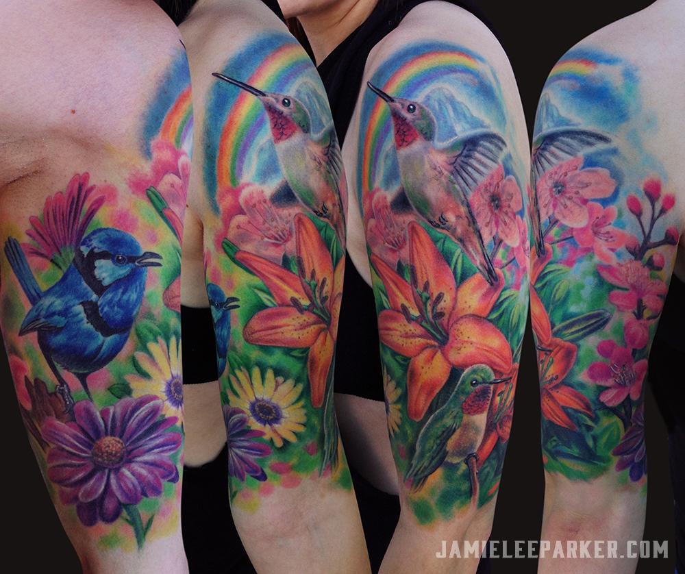Birds Flowers & Rainbow