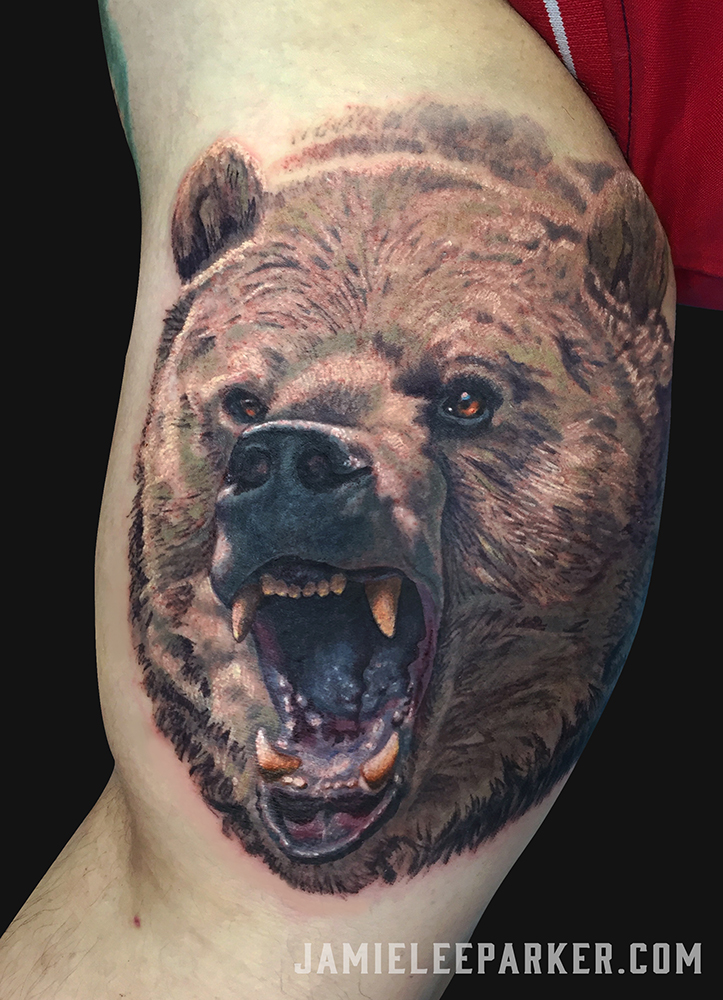 Roaring Grizzly Bear