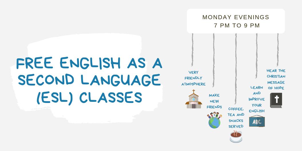 ESL: Free English classes Mondays at 7 pm
