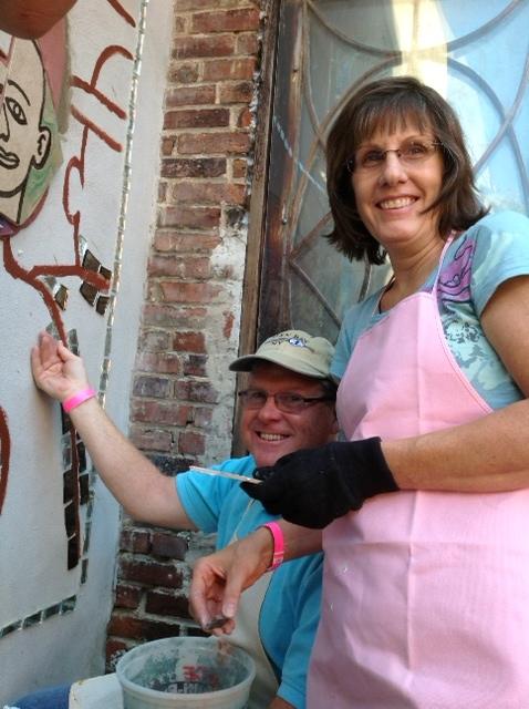 Magic Gardens Philadelphia., Pa.Community mosaic workshop taught by Isaiah Zagar