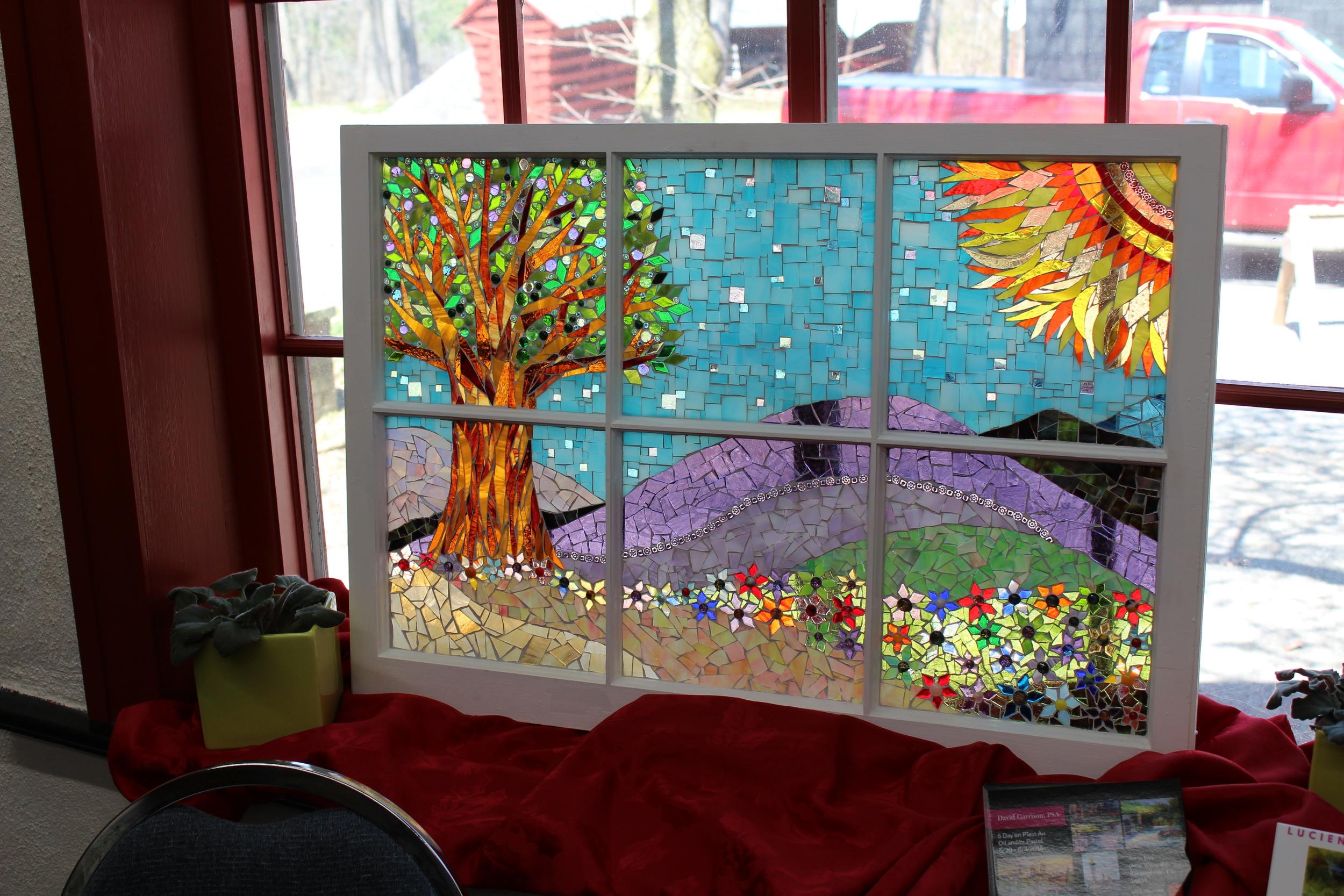 Window panel. Glass on glass mosaic.