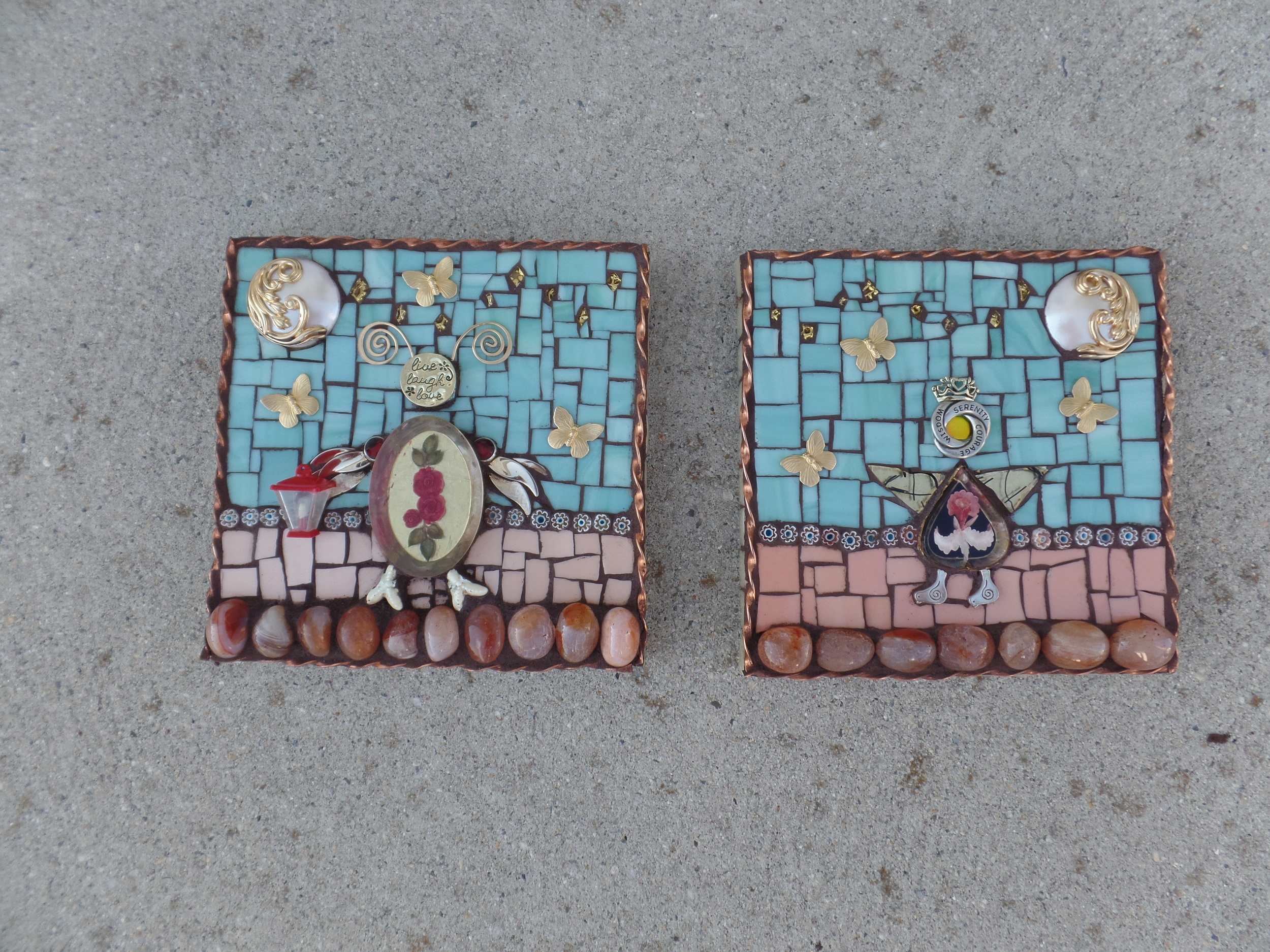 """I made these 6"""" square plaques from pieces that I could not incorporate into the mirror. Just two whimsical creatures."""