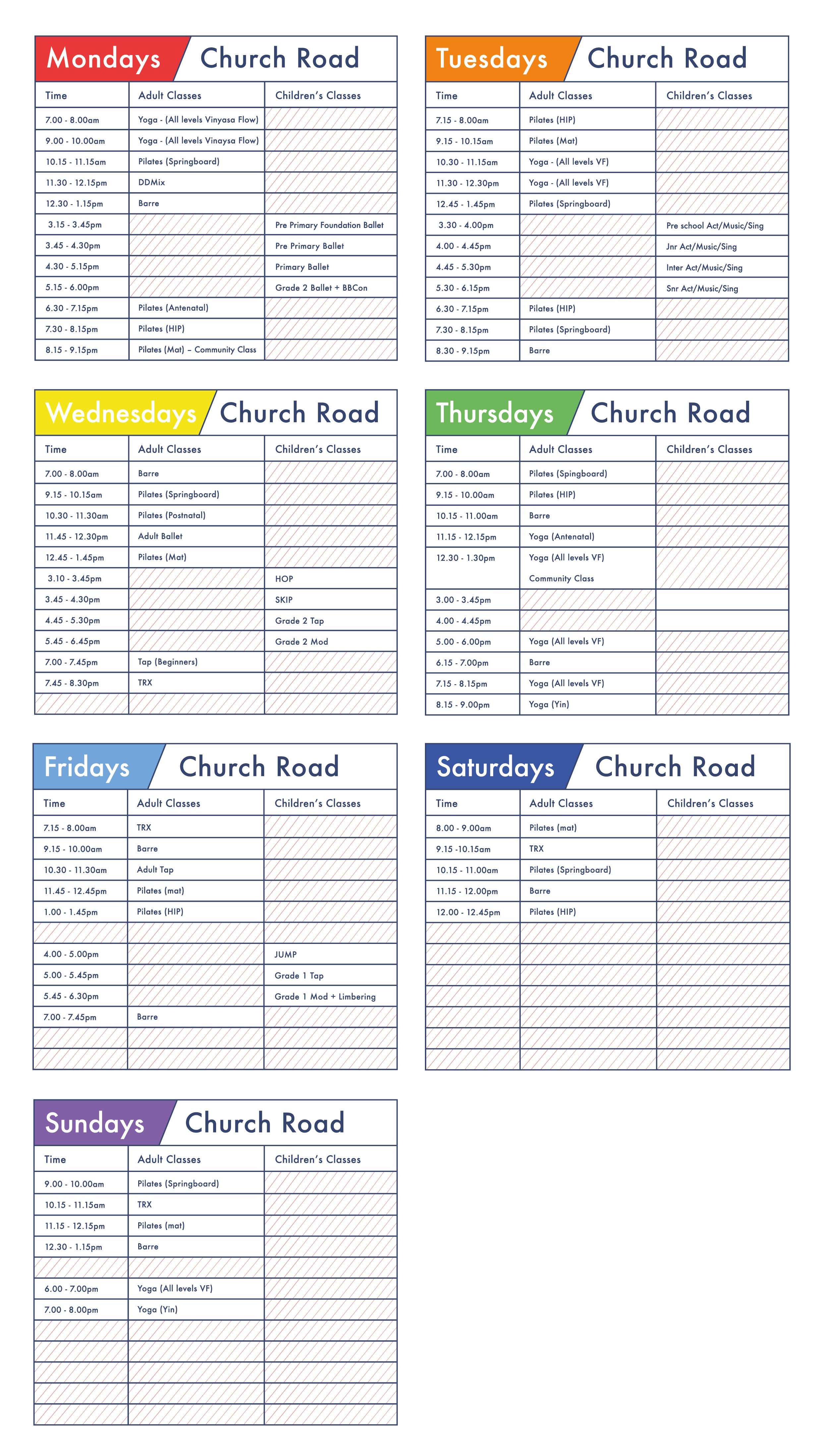 Clifford Studios Church Road Timetable