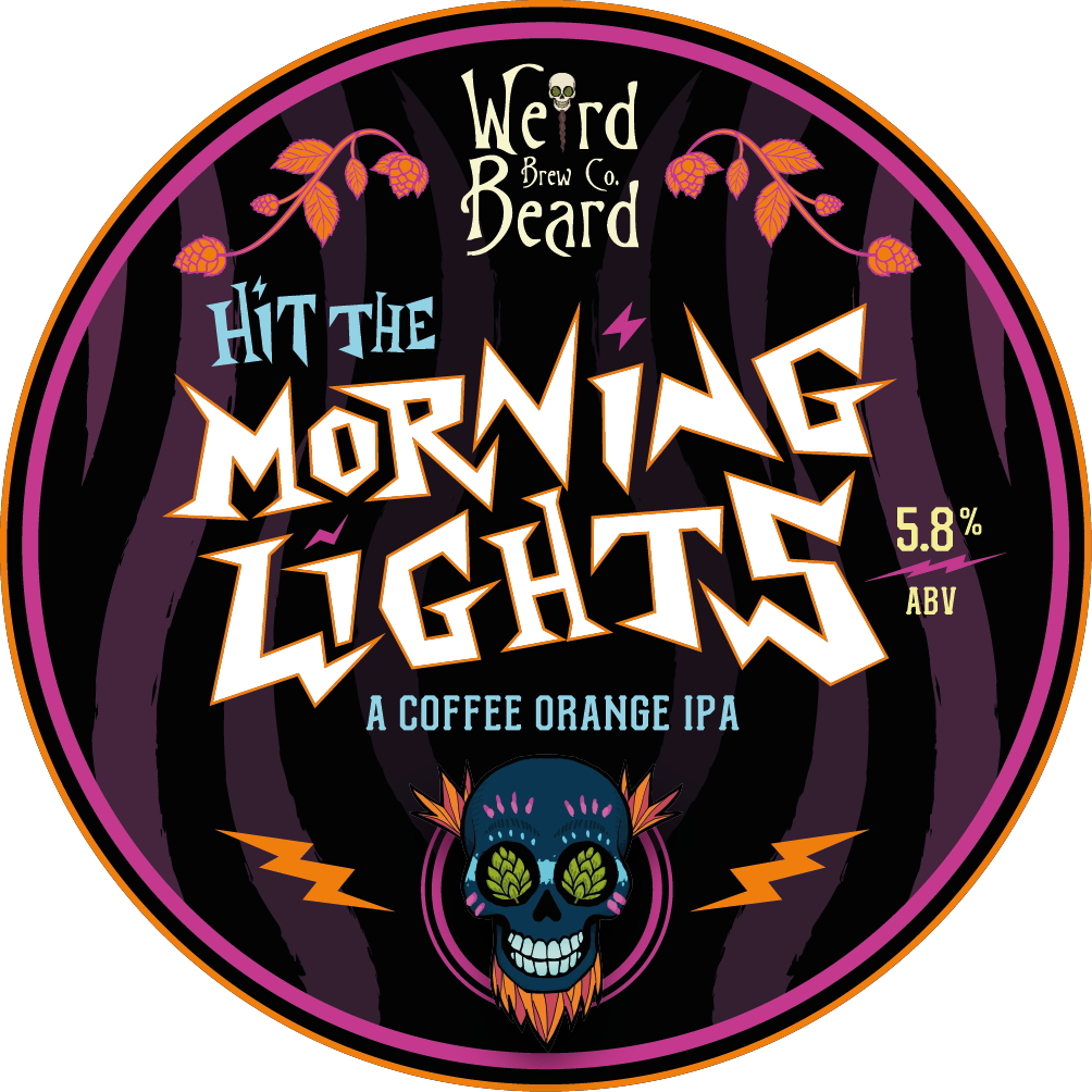 Hit The Morning Lights - 5.8% ABV, A Coffee Orange IPA   A new take on our classic Hit The Lights, with Has Bean coffee beans and natural orange peel added to the fermenter during conditioning.