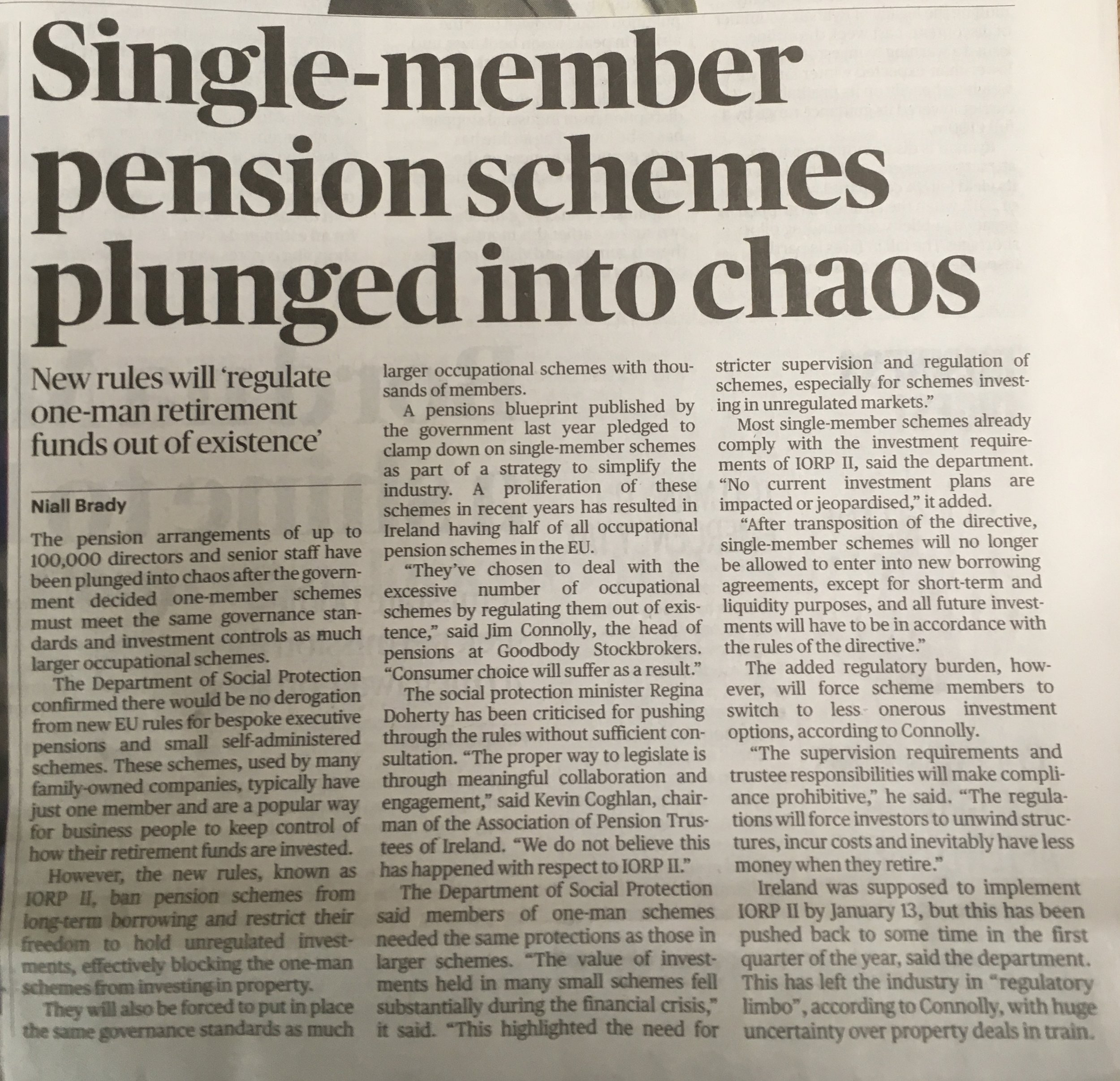 Article by Niall Brady in the Sunday Times 20 January 2019