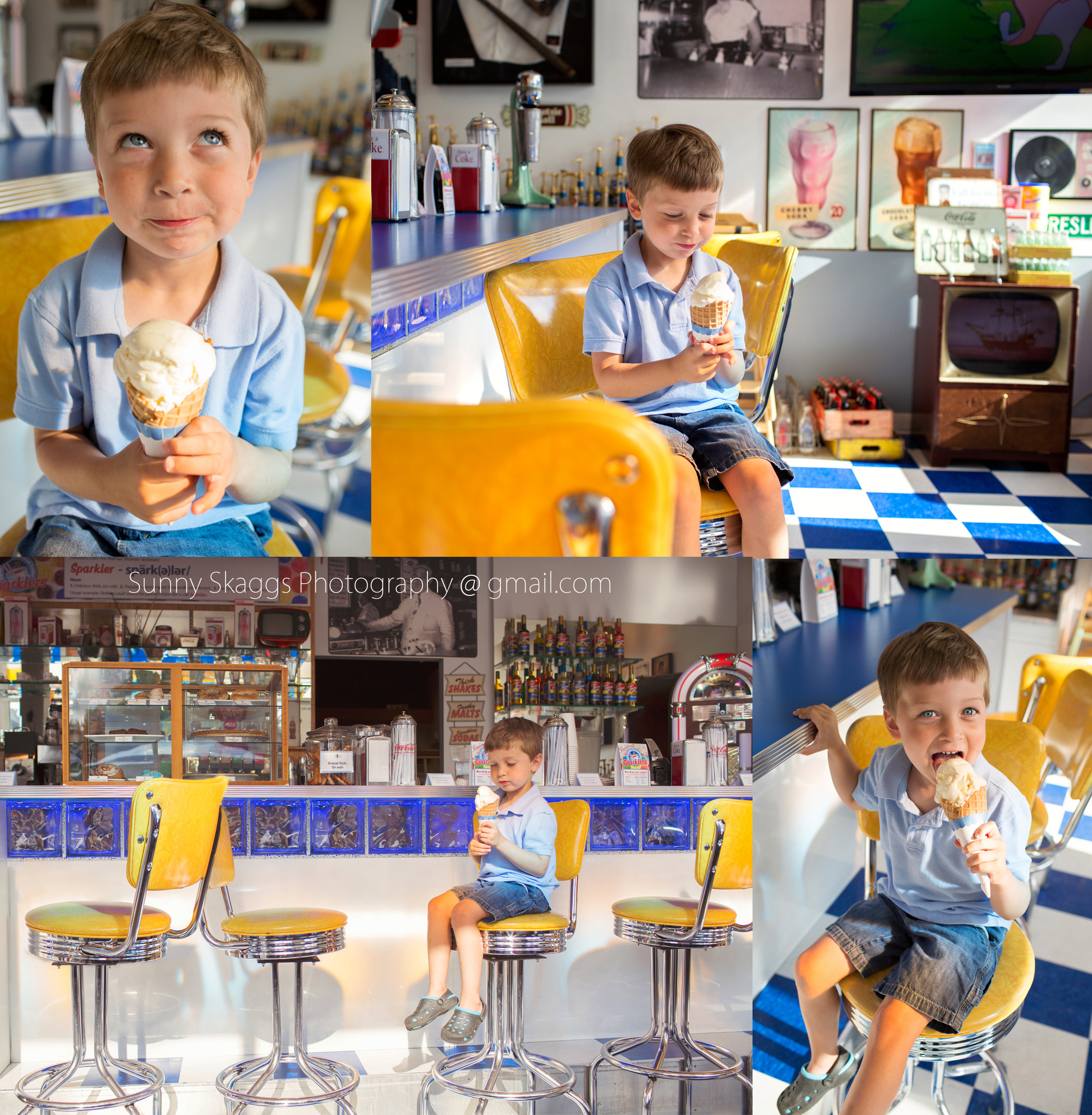 The Walmart Spark Cafe and Soda Fountain, Bentonville, AR, Ice Cream Session with a little blue eyed boy.