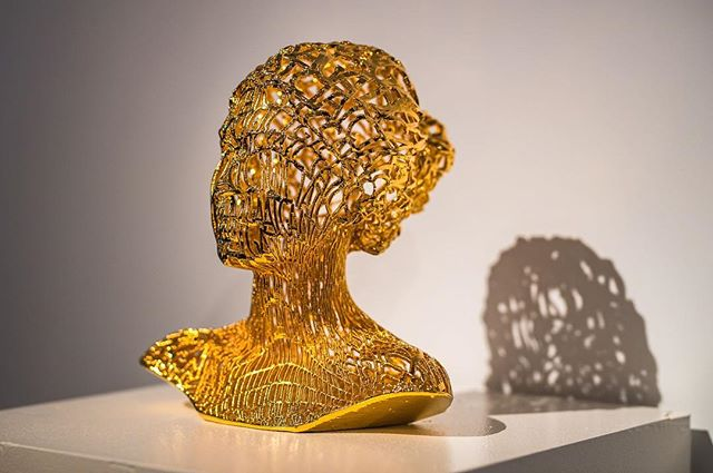 "@azelinskie beautiful sculpture ""Human Code"" is currently on display at Sotheby's. Monday-Friday 10am-5pm"