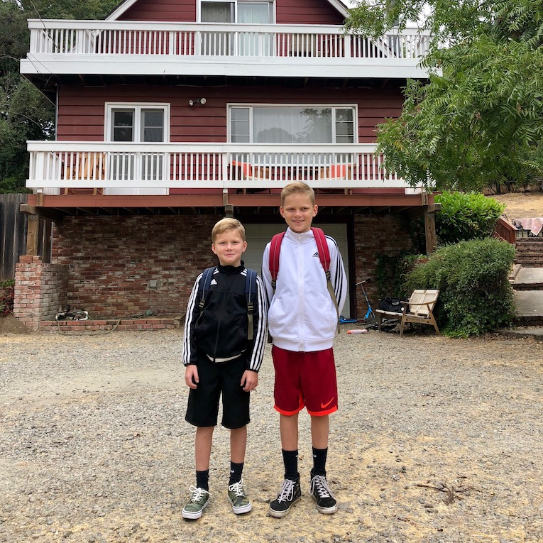 August 2018. Off to school from the Chalet.