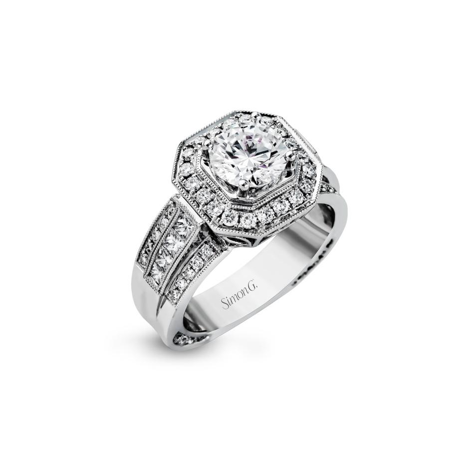 Simon G White Gold Wide Band Diamond Engagement Ring Beifeld Jewelers