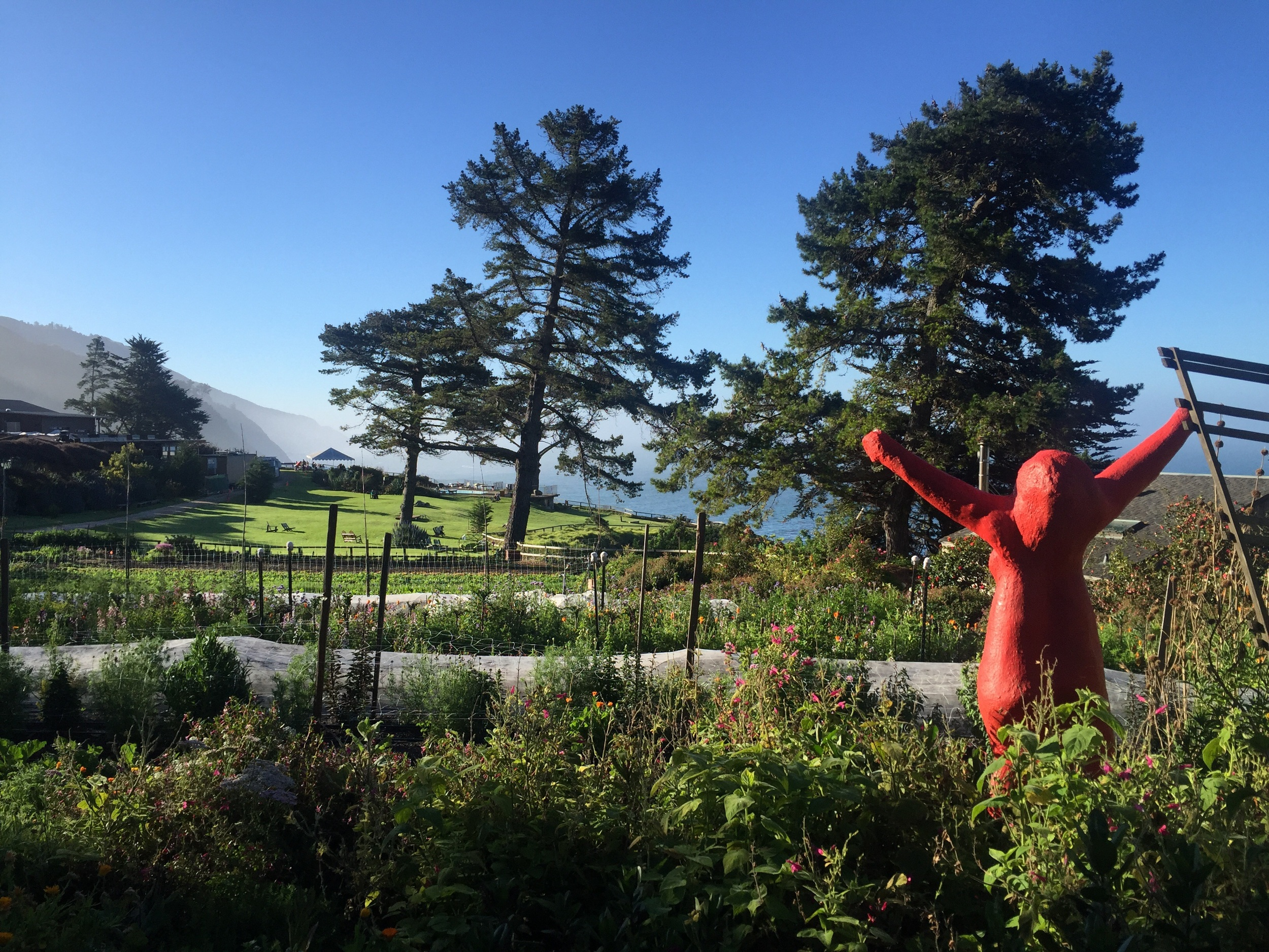 Red Lady Sculpture in the Buddah Garden