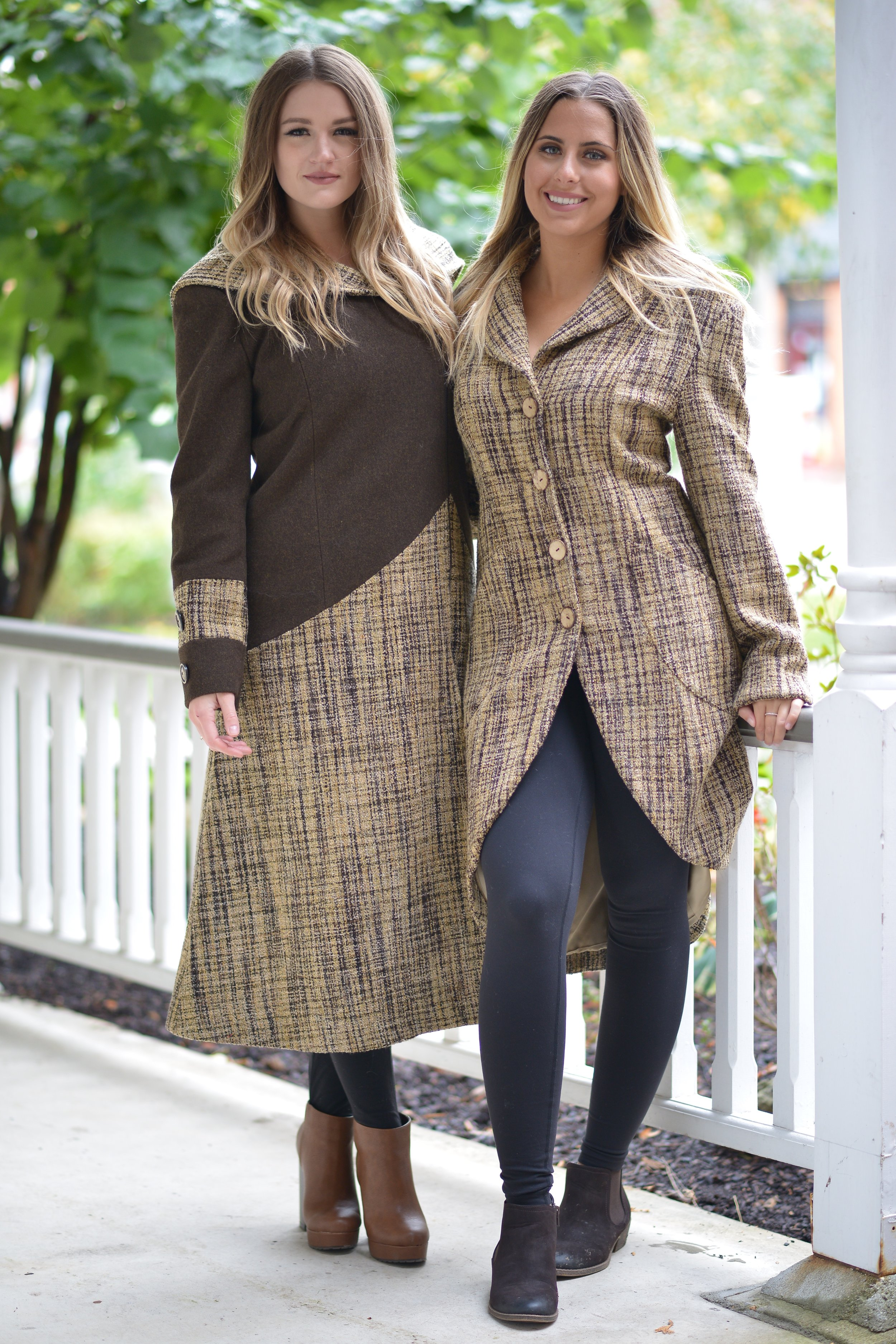 Brown Hooded Coat Taupe Pattern Opera Coat