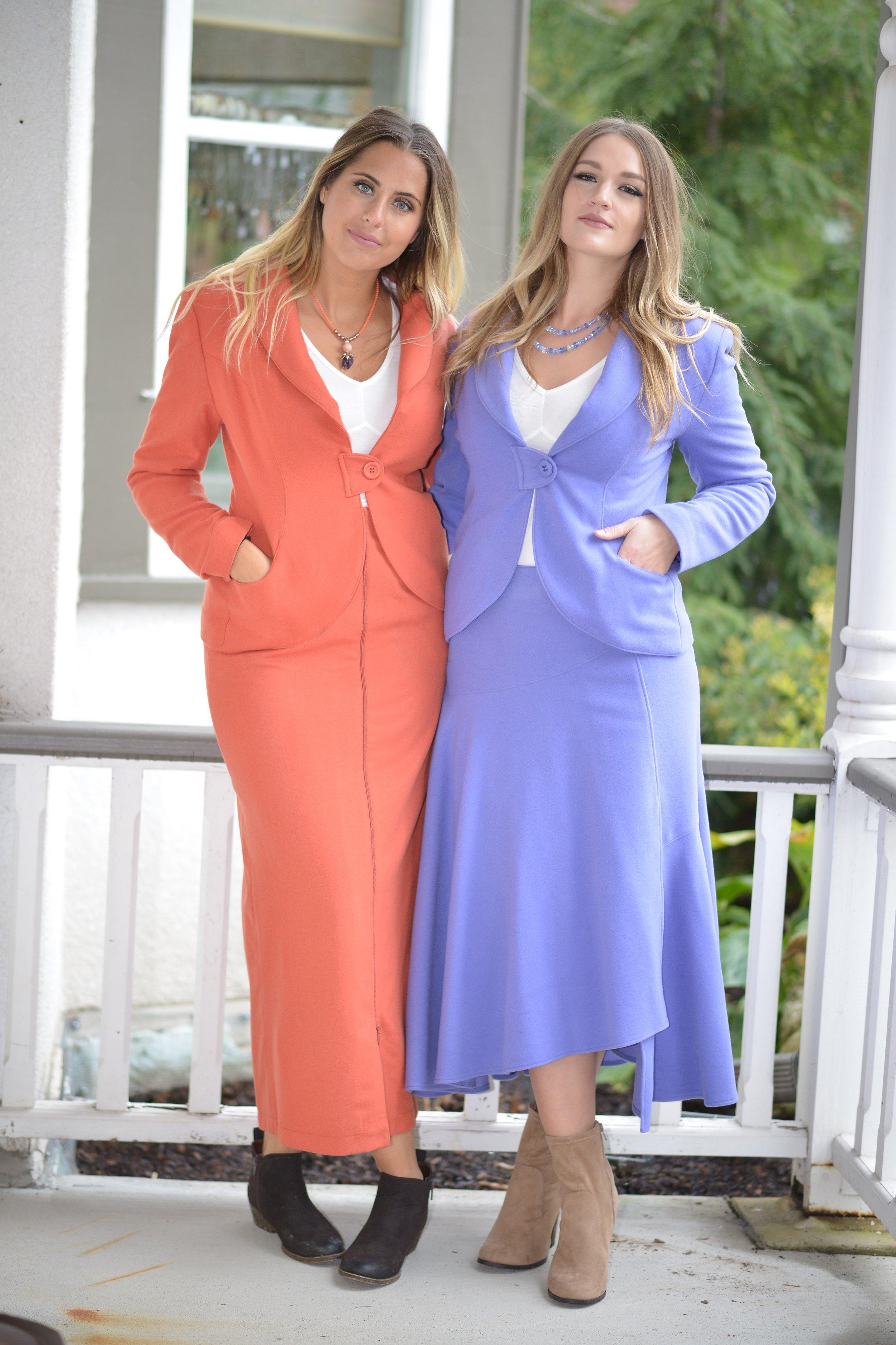 Orange button tab jacket and zipper skirt/ lilac button tab jacket and flirt skirt