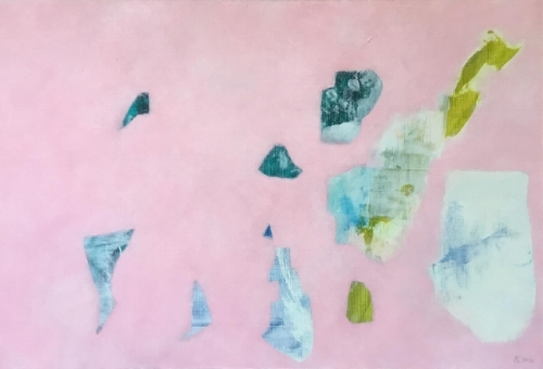 Pink | Water.  Acrylic & pastel on canvas paper (13 x 19)  $450 2016 (Framed)  Ann Sanger