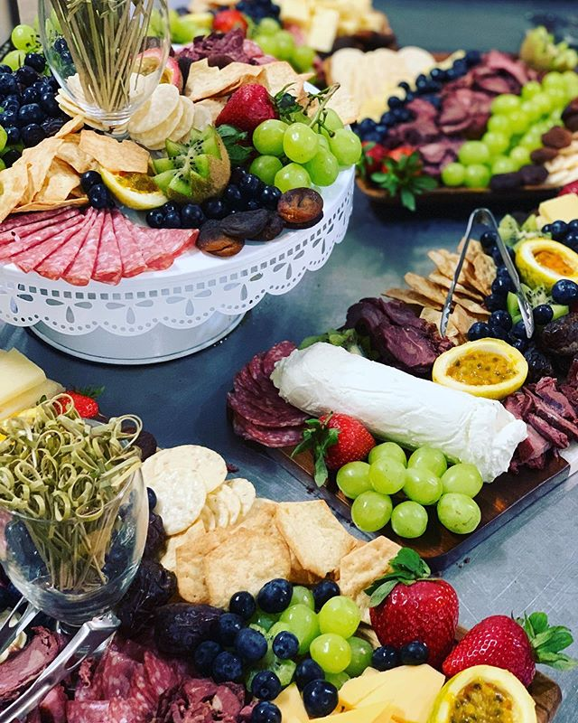 Epic charcuterie spread by my wonderful team. Thanks to @alexalynx for taking the lead on this one!  #charcuterie #cocktailhour #fruitplatter #cheesespread #catering #weddingcatering #cateringinhawaii #hawaiicatering #bestcateringteamever