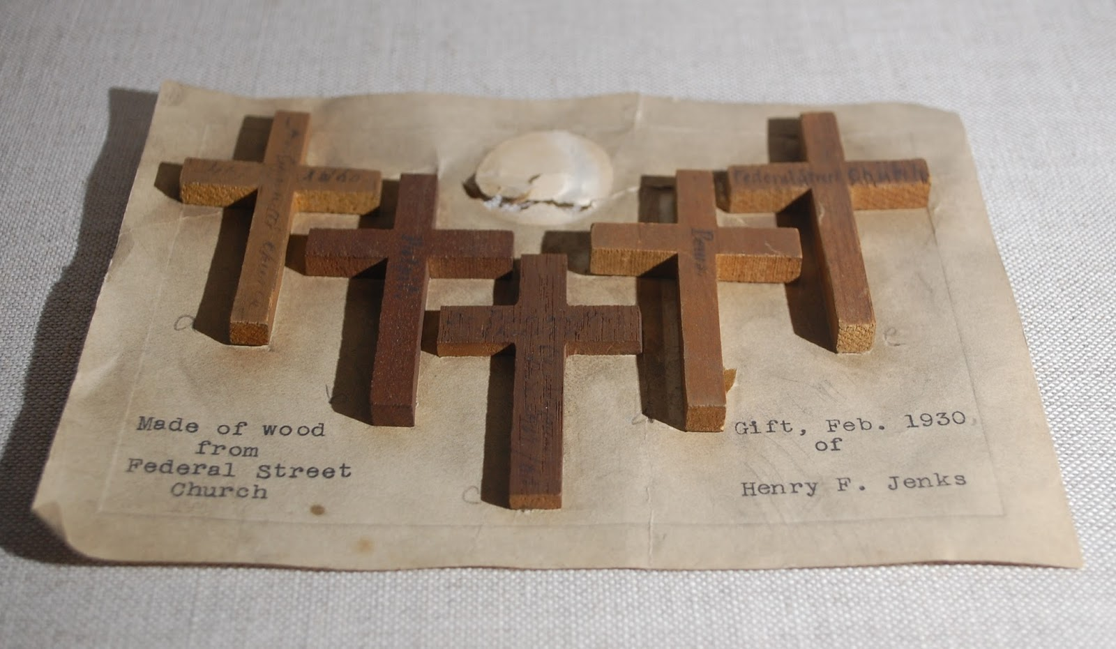 """1930.0008.002 a-fNote reads, """"Made of wood from FederalStreet Church. Gift, Feb. 1930 of Henry F Jenks."""""""
