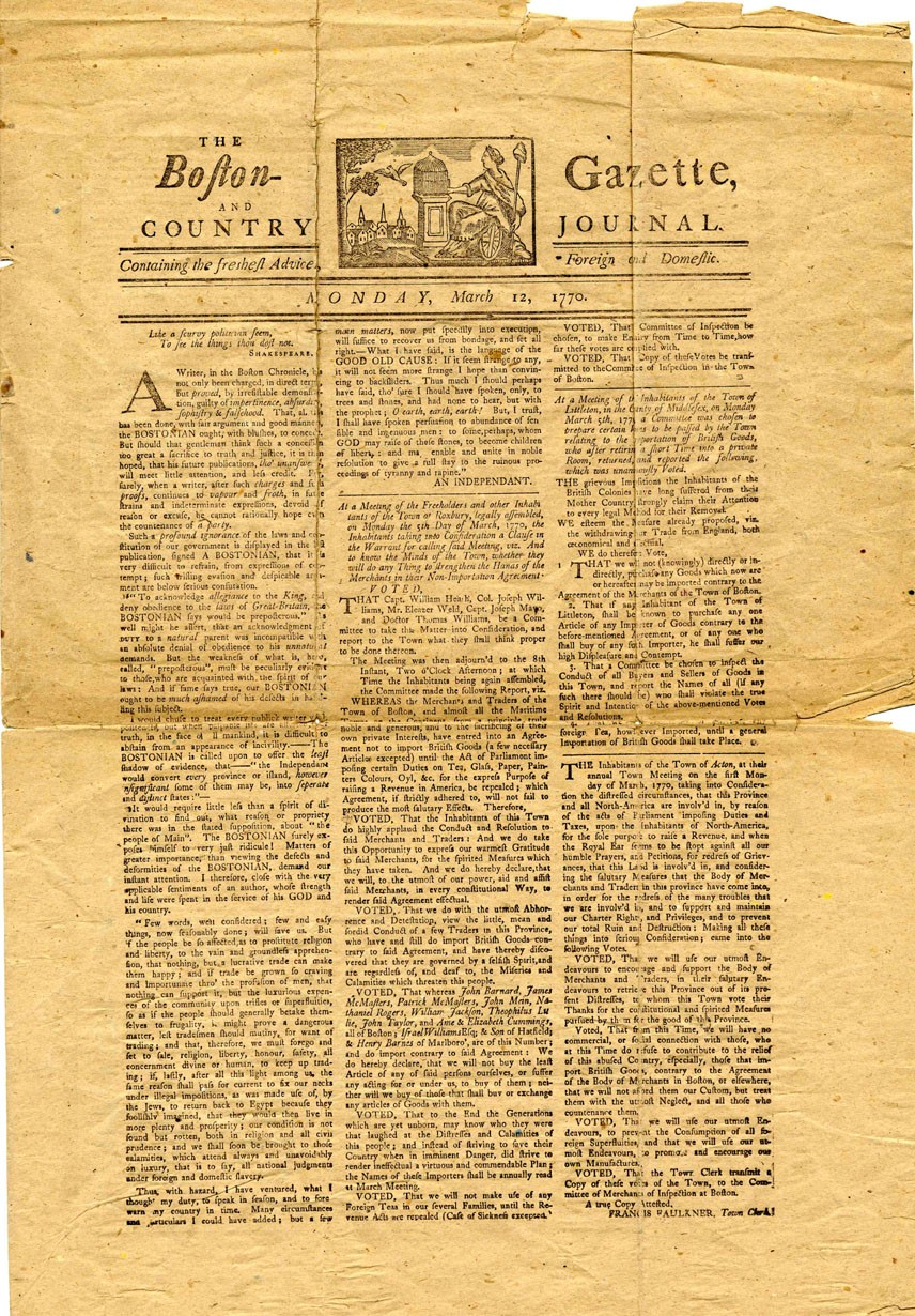 Page 1 of the March 12, 1770  Boston Gazette