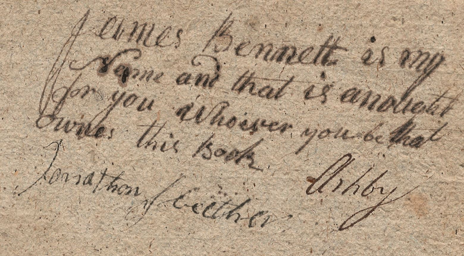 Inscription on inside cover of MS0176