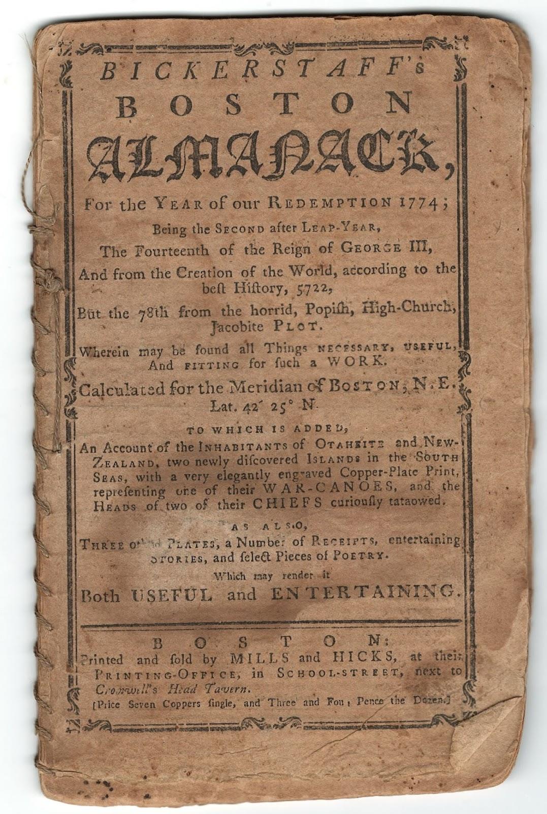 Bickerstaff's Boston Almanack, 1774  AY 201 .B7 B52