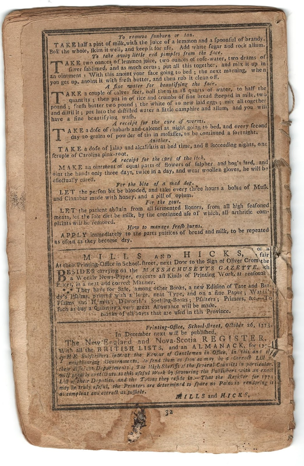 List of remedies on the back of the almanac.