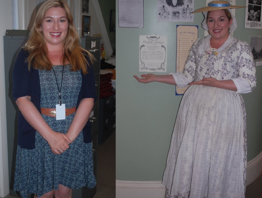 Lauren pictured in the modern day and in her 18th century attire.