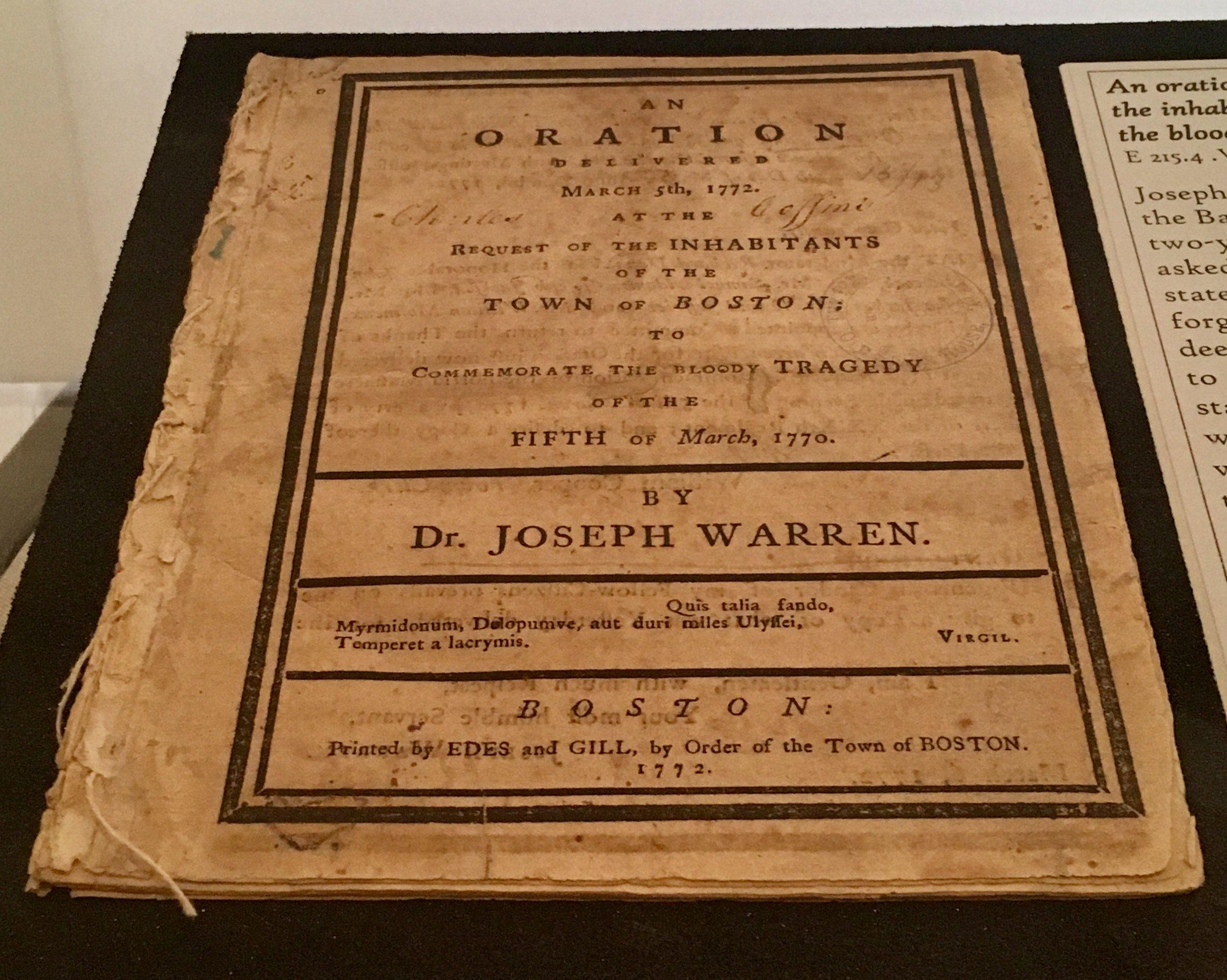 Joseph Warren's sermon on display (E 215.4 .W28)