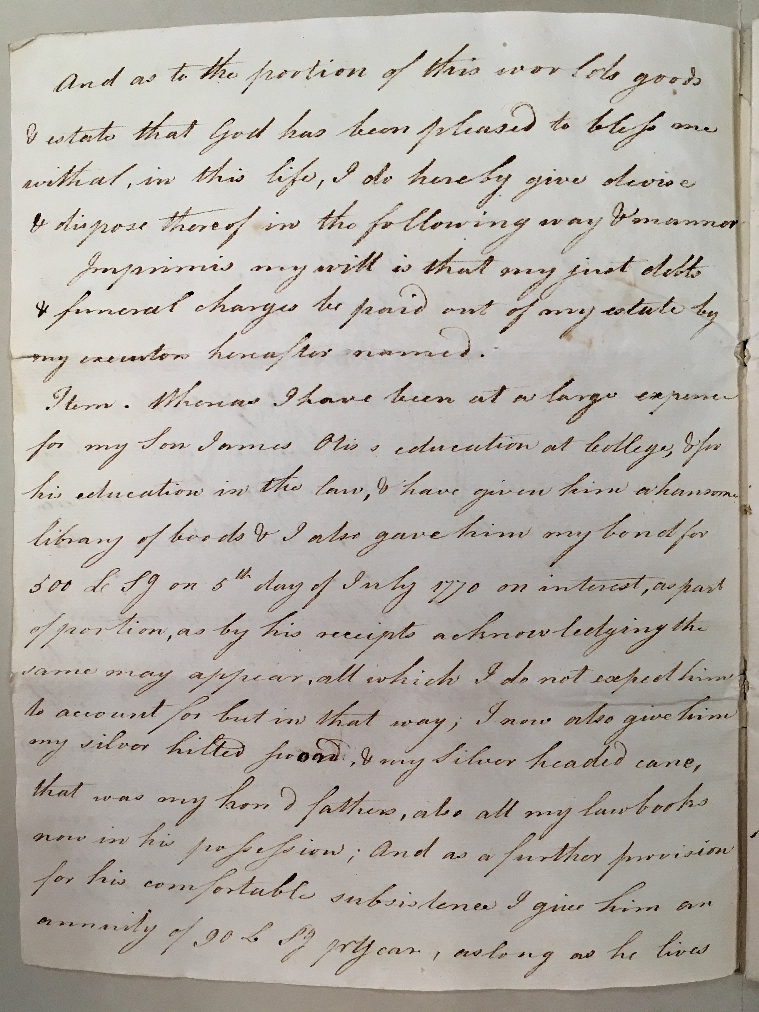 Page two of James Otis Sr.'s will (MS0190, 02/04)