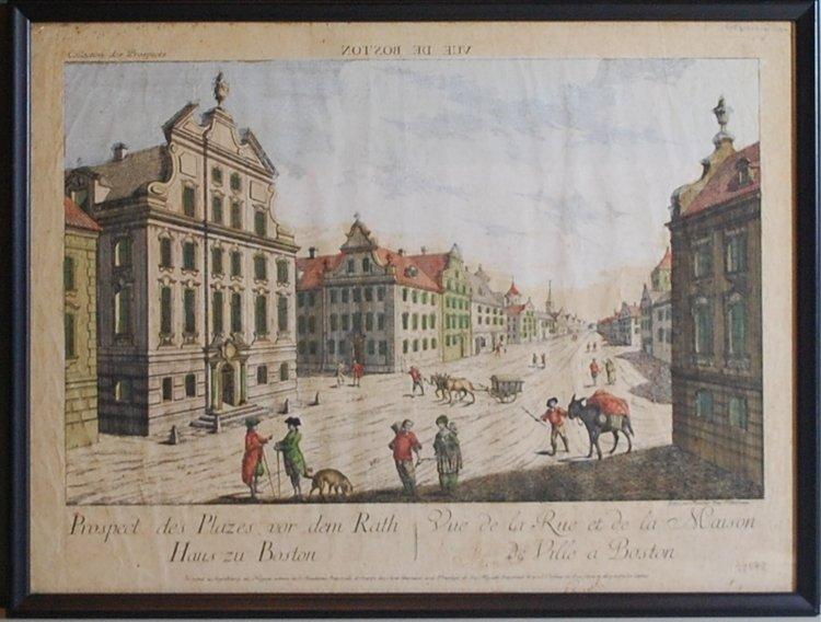 2017.0001.001 Vue de Boston - Old State House. Gift of Randolph J. Fuller.