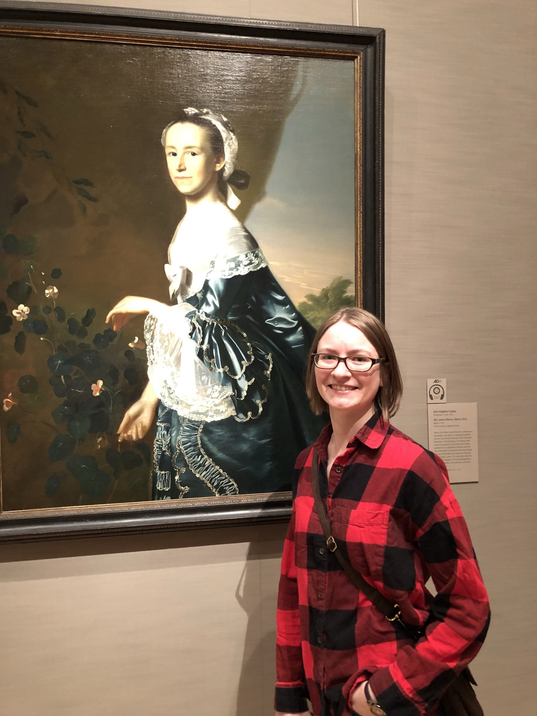 Robin with Copley's portrait of Mercy Otis Warren at the MFA. Photo: Jim Donovan