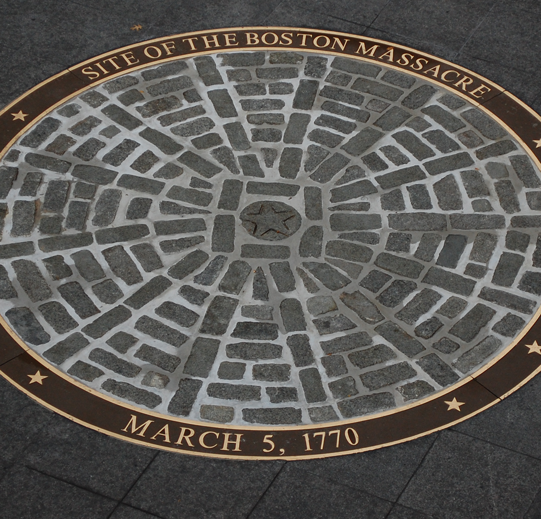 This circle sits outside the Old State House to mark the site of the Boston Massacre.