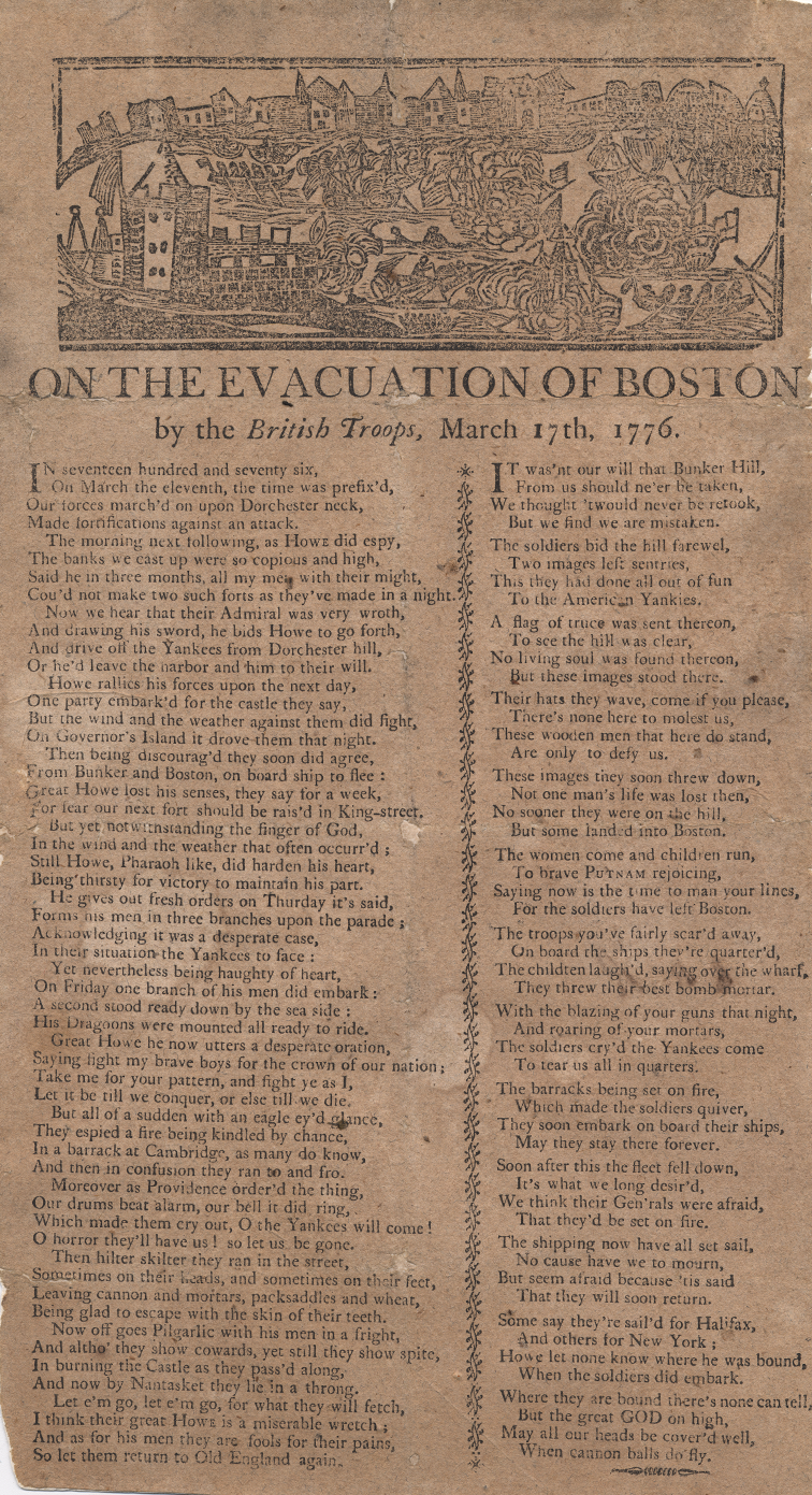 A broadside showing lyrics of two popular Revolutionary Era songs.